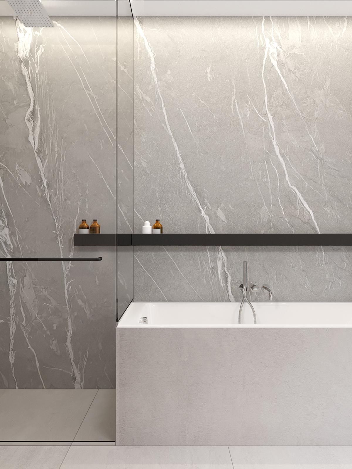 20 architekt wnetrz D428 dom Ruda Slaska lazienka prysznic z wanna czarna polka na kosmetyki przy wannie