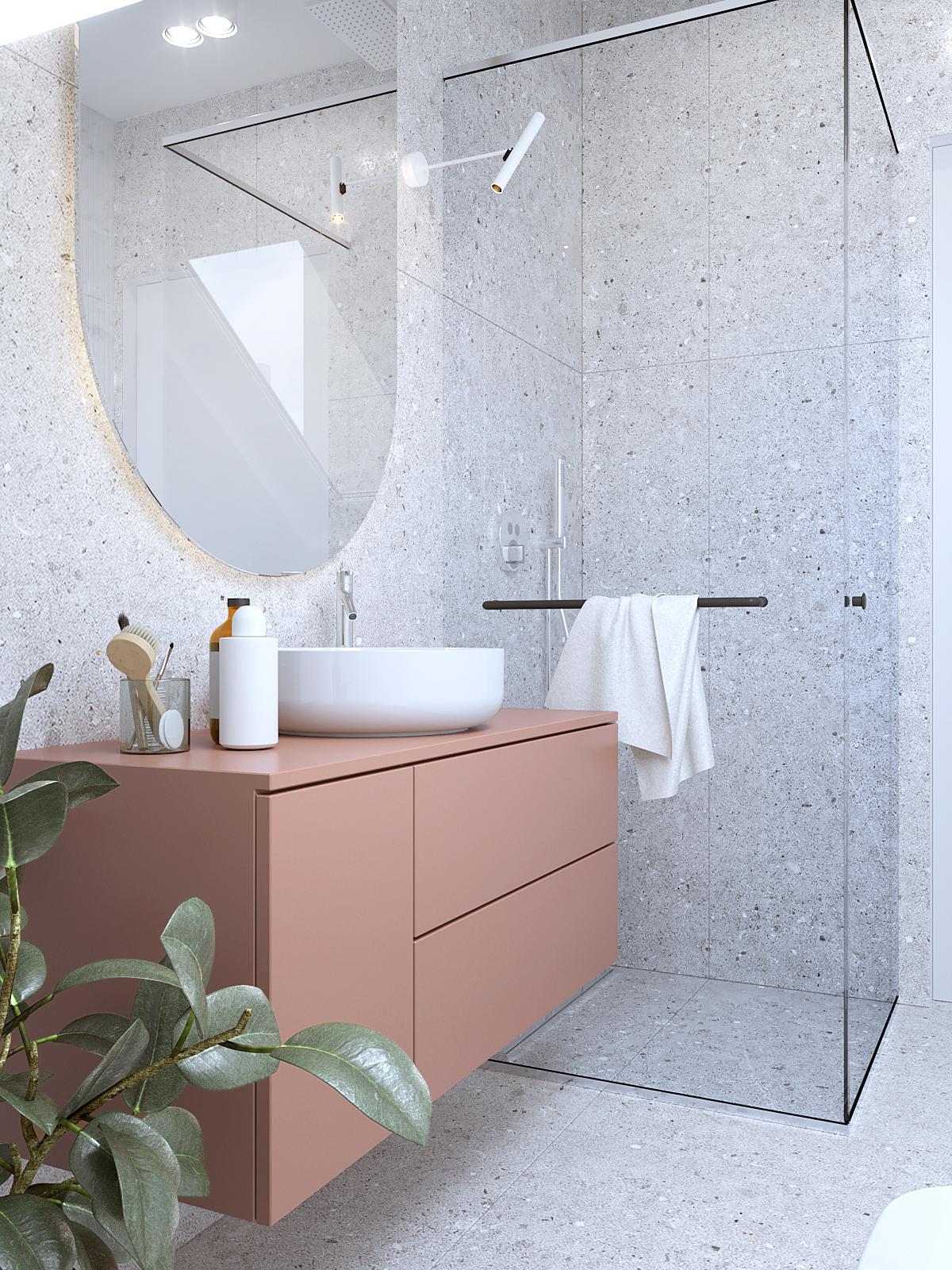 20 projektant wnetrz D423 poddasze lazienka na poddaszu szare plytki kolorowa szafka umywalkowa kabina prysznicowa