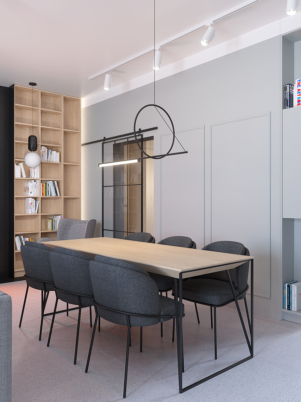 3 aranzacja wnetrz D395 dom Tychy jadalnia krzesla tapicerowane przesuwne drzwi loftowe dekoracyjna lampa nad stolem regal na ksiazki