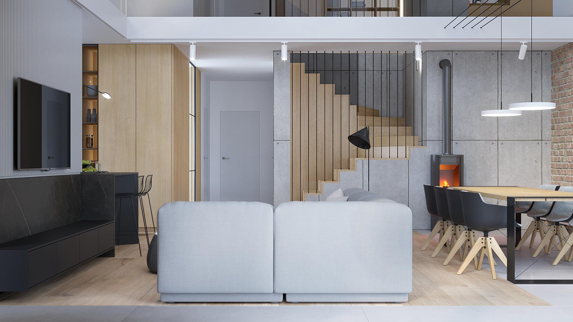 3 architekt wnetrz D428 dom Ruda Slaska salon z jadalnia betonowa sciana kominek koza drewno na scianie szara sofa