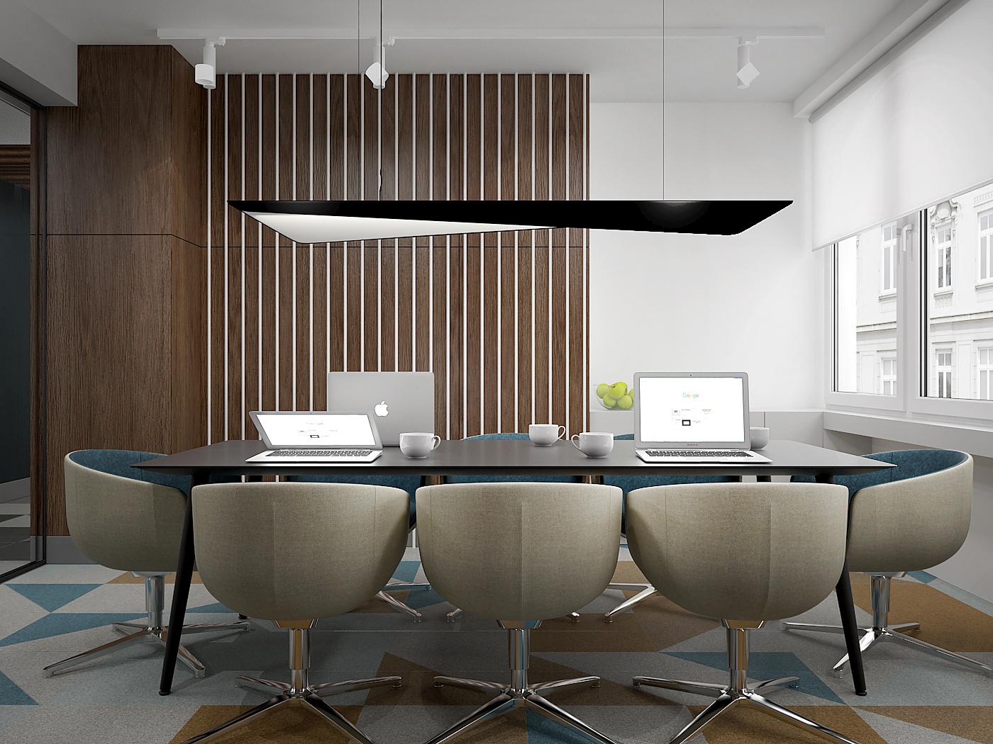 3 projekt biura B247 Kancelaria warszawa sala konferencyjna stol konferencyjny wygodne fotele wykladzina obiektowa plyta meblowa na scianie
