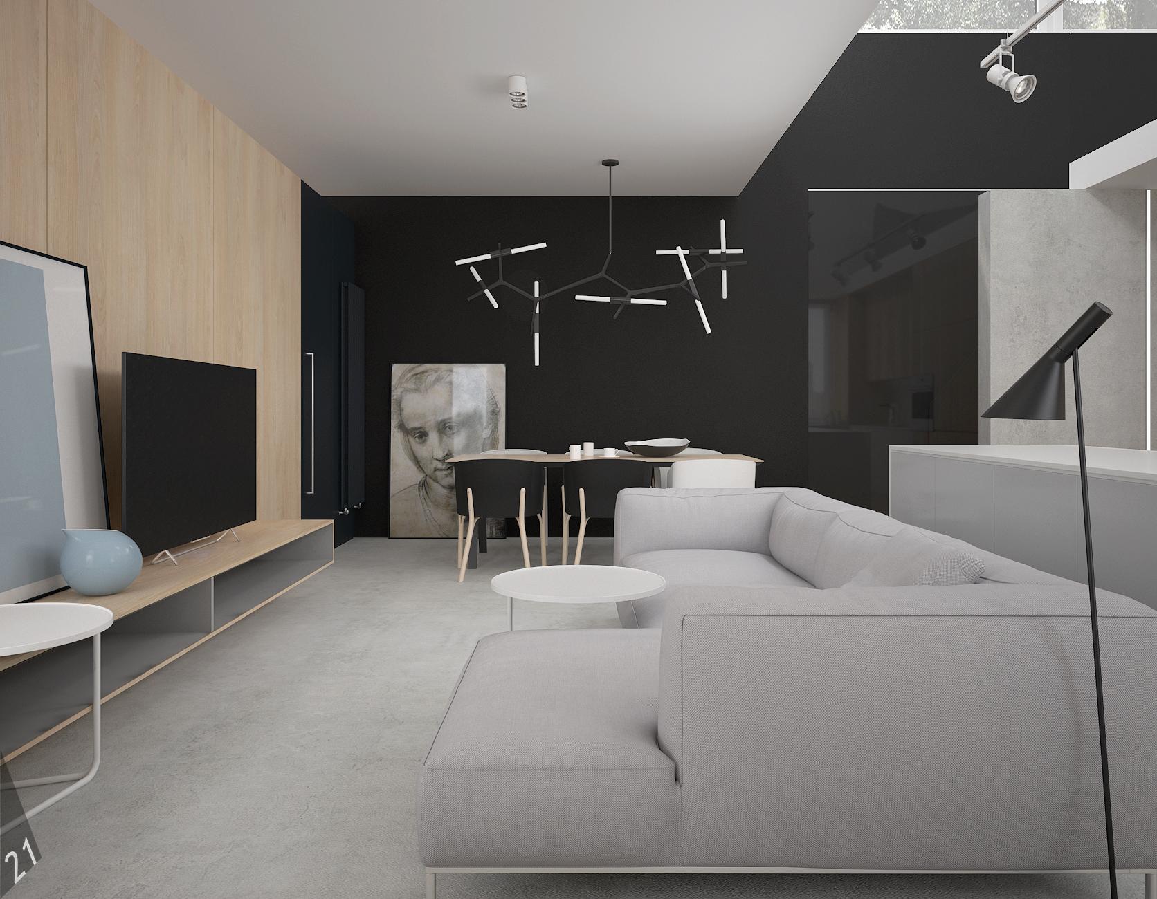 3 projektant wnetrz D372 dom z antresola katowice salon grafitowa sciana szara sofa beton posadzka drewno sciana
