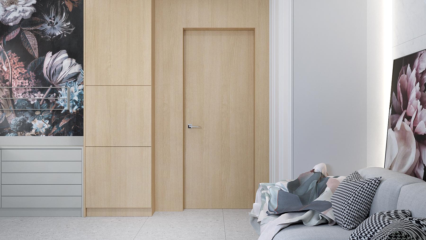 3 projektant wnetrz D423 poddasze Myslowice pokoj do makijazu drewniana sciana z drzwiami tapeta w kwiaty