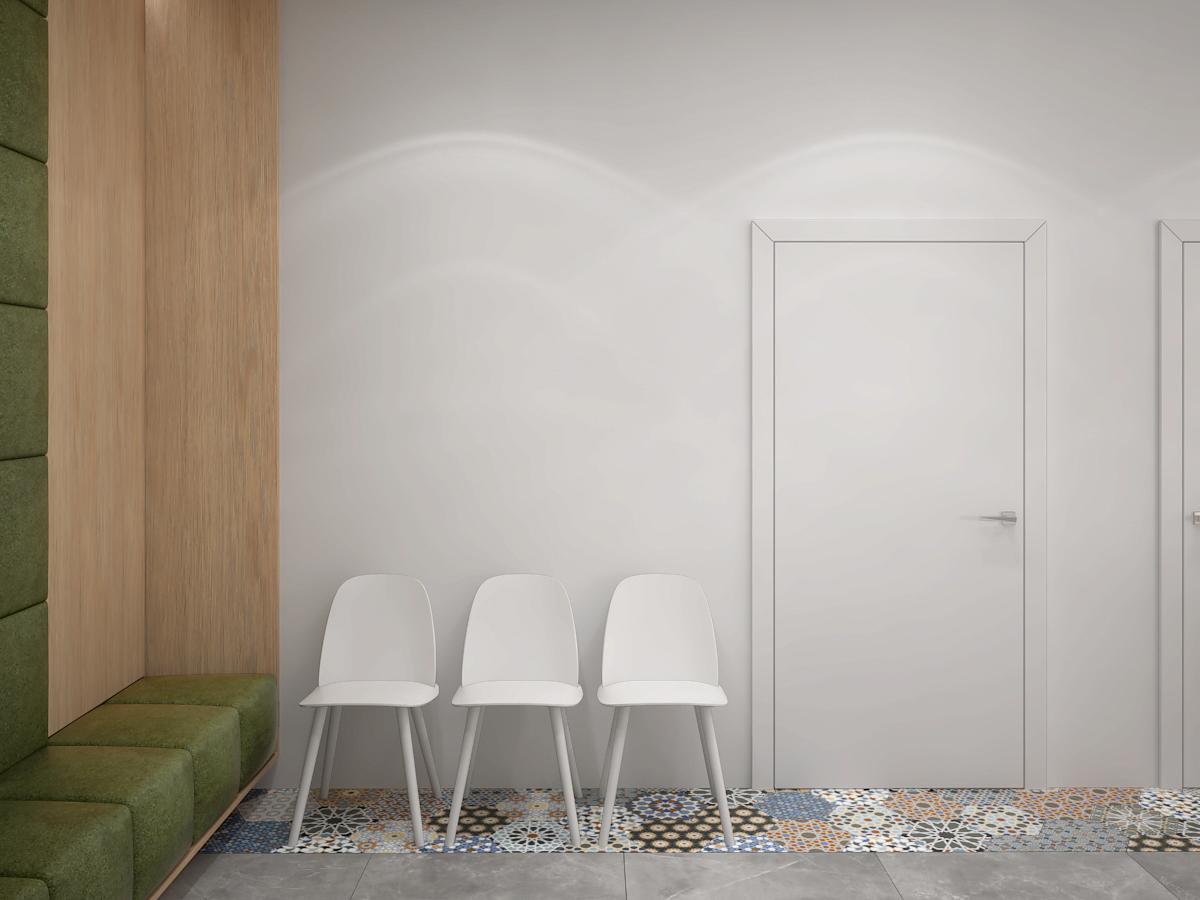 3 projektowanie wnetrz K098 optyk Strozik Lubliniec poczekalnia biale krzesla zabudowa drewniana
