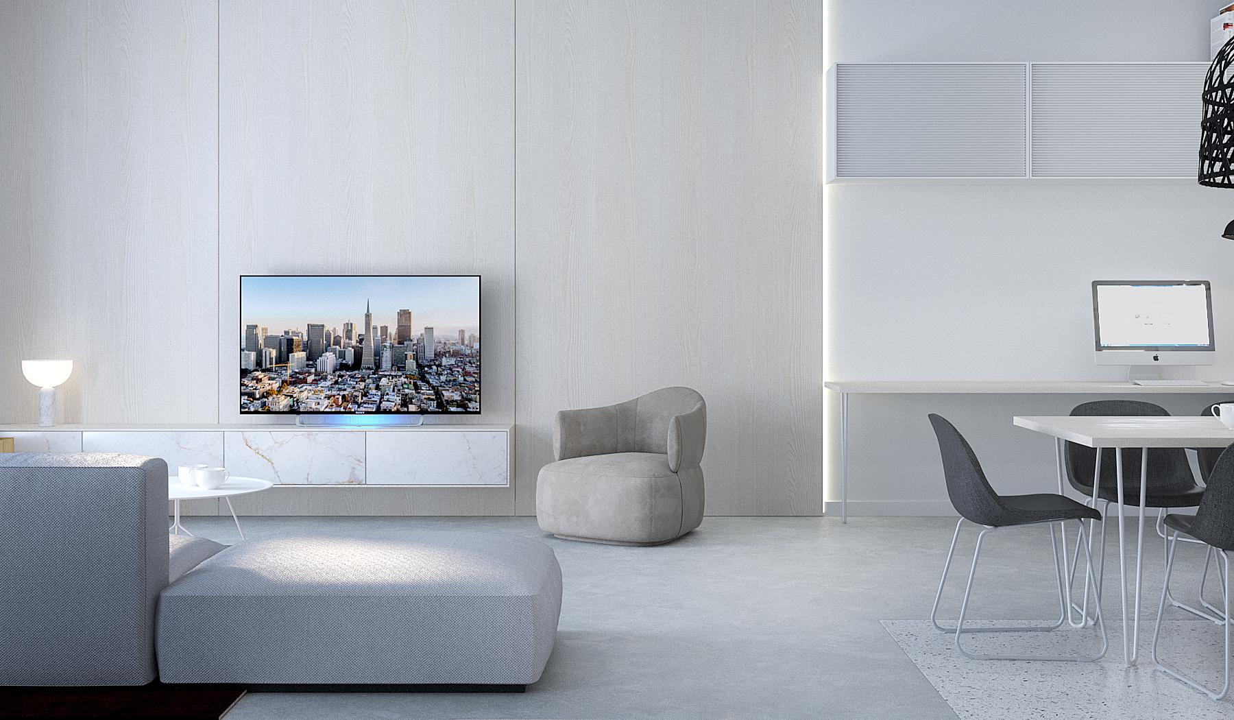 3 projektowanie wnetrz M245 mieszkanie krakow salon betonowa posadzka szara sofa drewno na scianie stanowisko pracy w domu