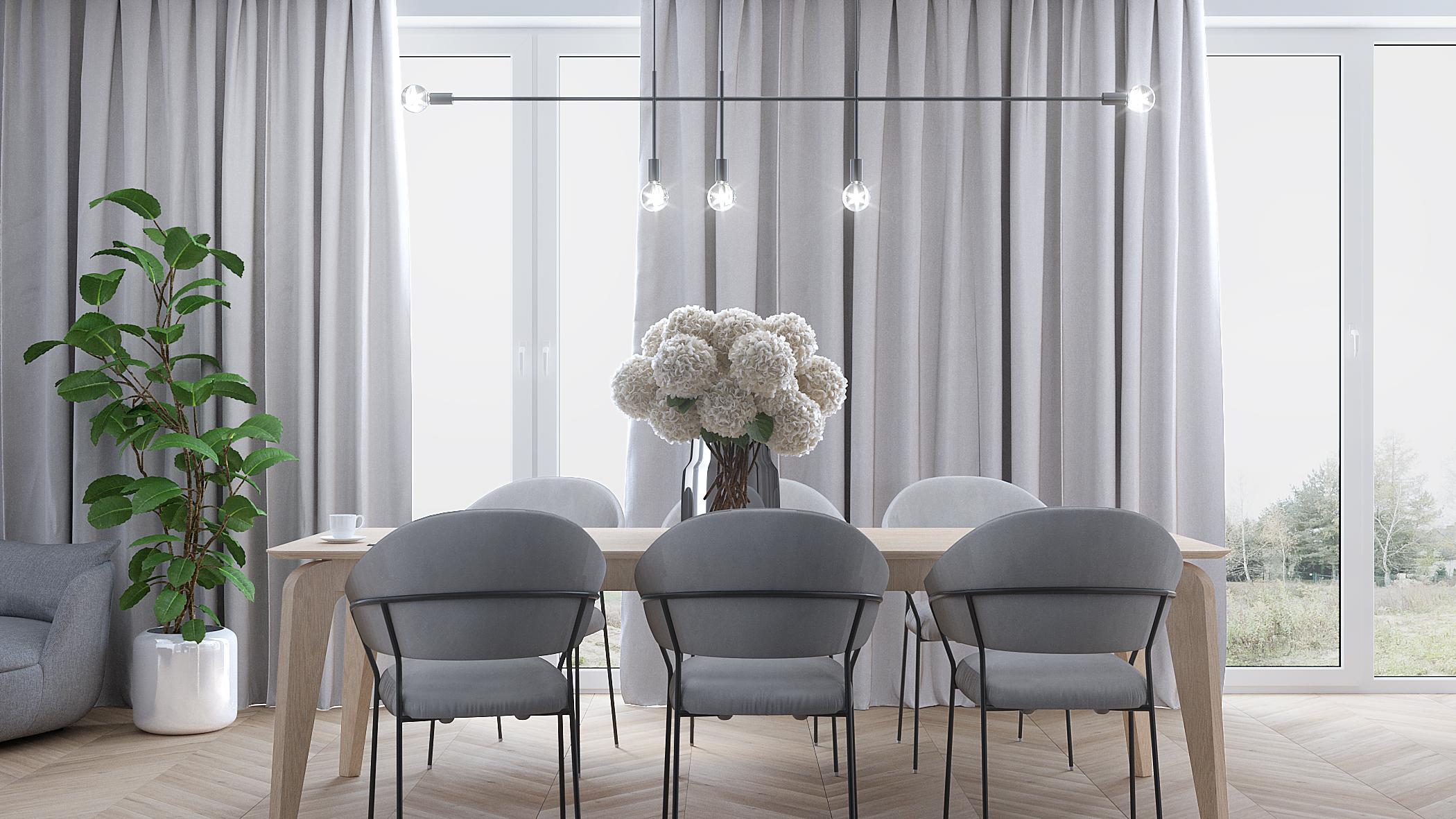 3 projektowanie wnetrz M356 mieszkanie Krakow szare krzesla drewniay stol dekoracja okien lampa nad stolem