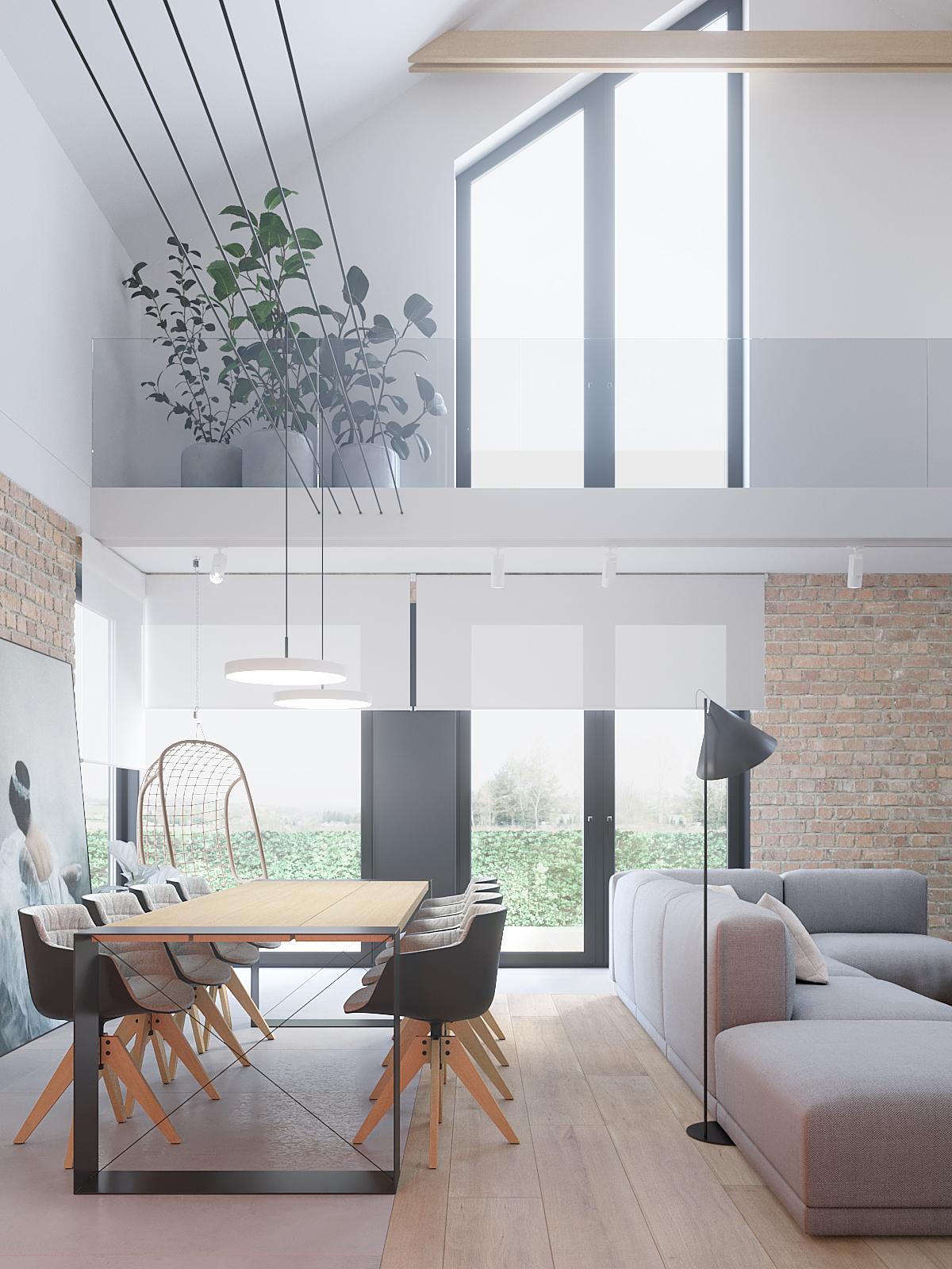 4 architekt wnetrz D428 dom Ruda Slaska salon z antresola cegla na scianie szara sofa duzy stol z kubelkowymi krzeslami betonowe donice