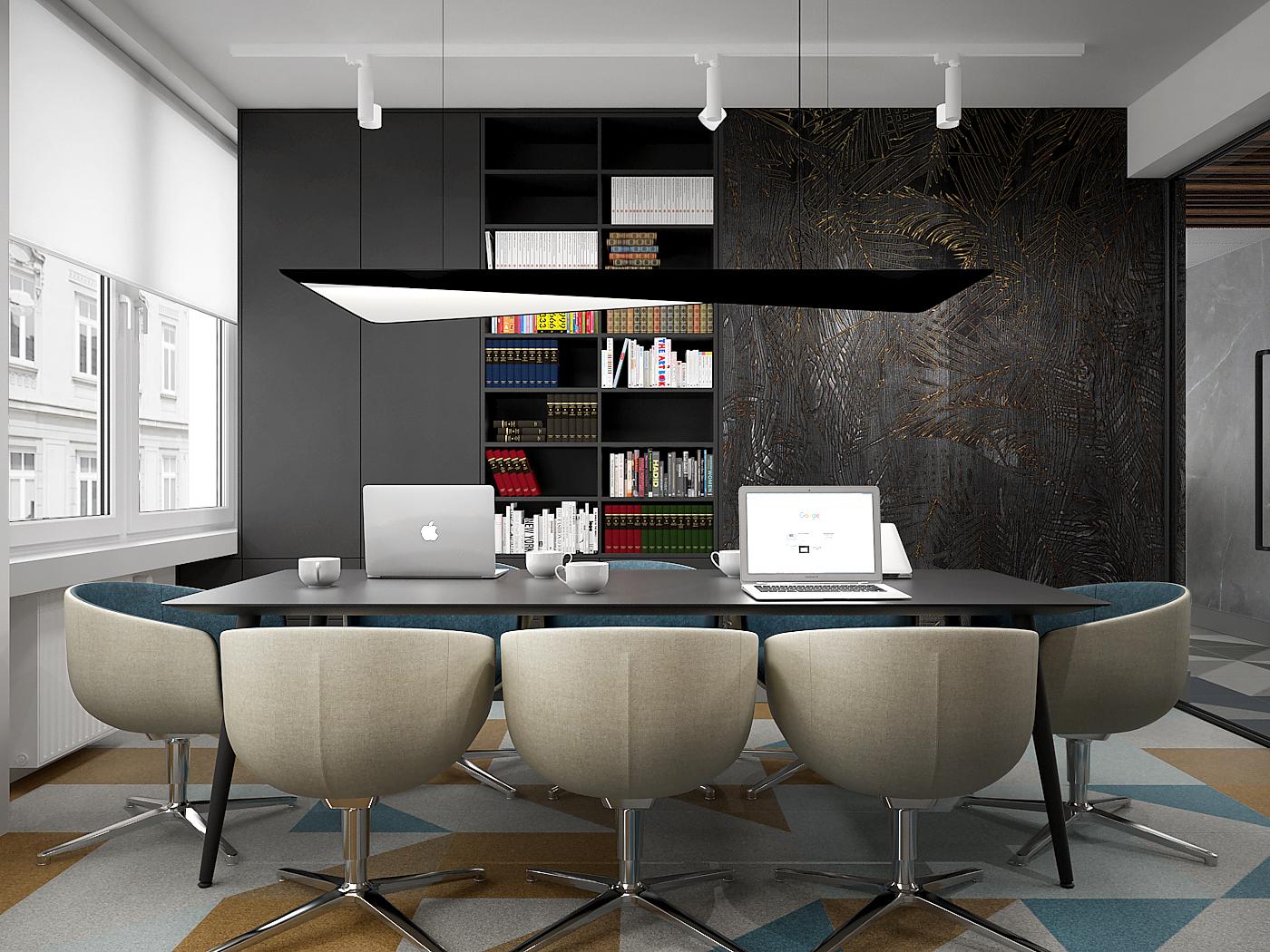 4 projekt biura B247 Kancelaria warszawa sala konferencyjna nowoczesny stol konferencyjny tapicerowane fotele czarna tapeta z motywem lisci wykladzina obiektowa