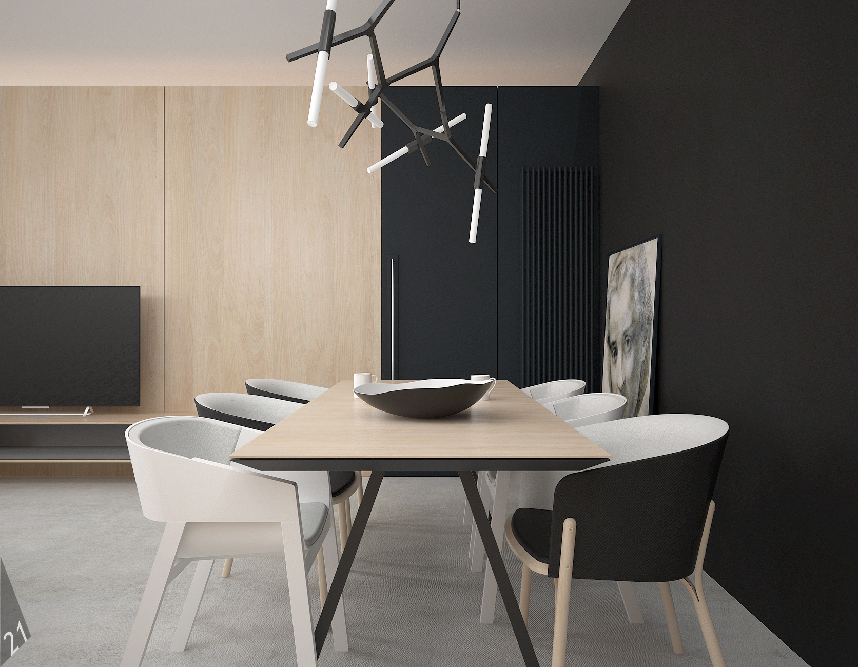 4 projektant wnetrz D372 dom z antresola katowice jadalnia stol drewno czarne nogi grafitowa sciana lampa nad stolem