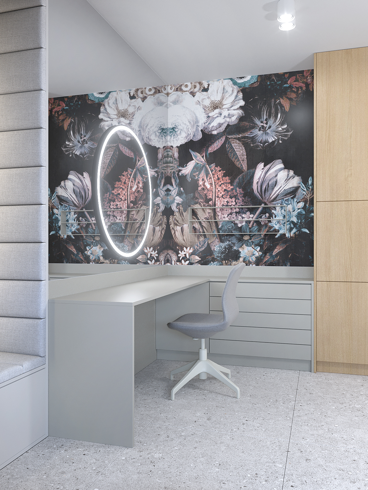 4 projektant wnetrz D423 poddasze Myslowice toaletka lustro led tapeta w kwiaty