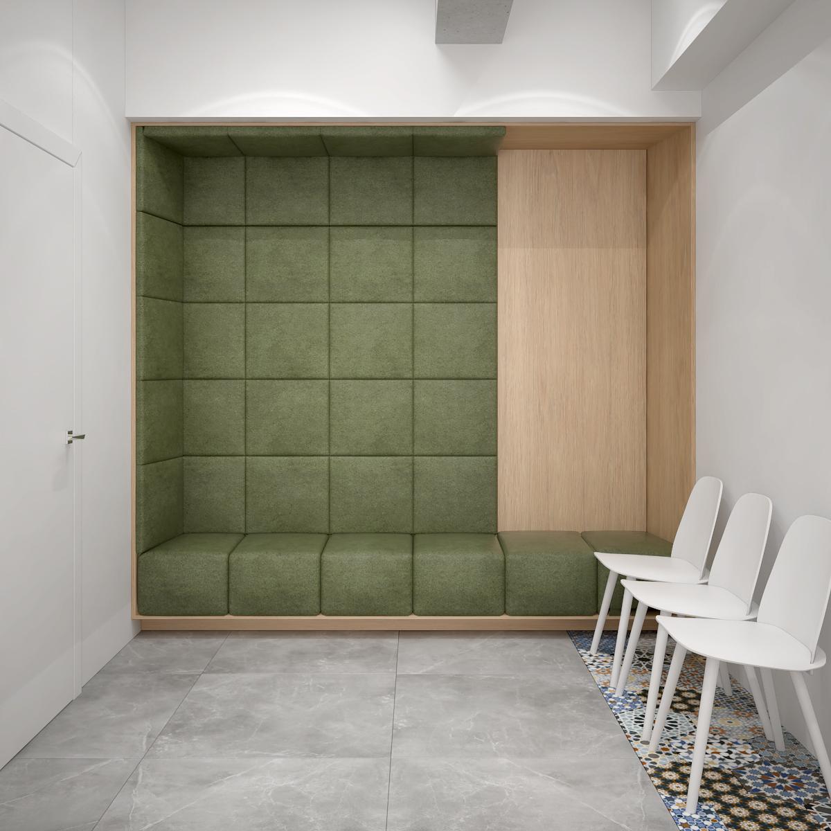 4 projektowanie wnetrz K098 optyk Strozik Lubliniec poczekalnia tapicerowane zielone siedzisko szare plytki