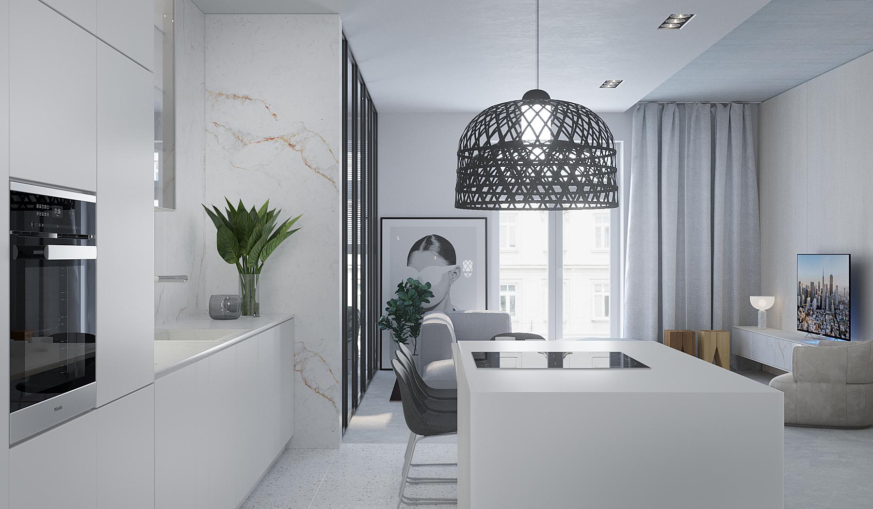 4 projektowanie wnetrz M245 mieszkanie krakow salon z kuchnia wyspa kuchenna biala zabudowa czarna azurowa lampa