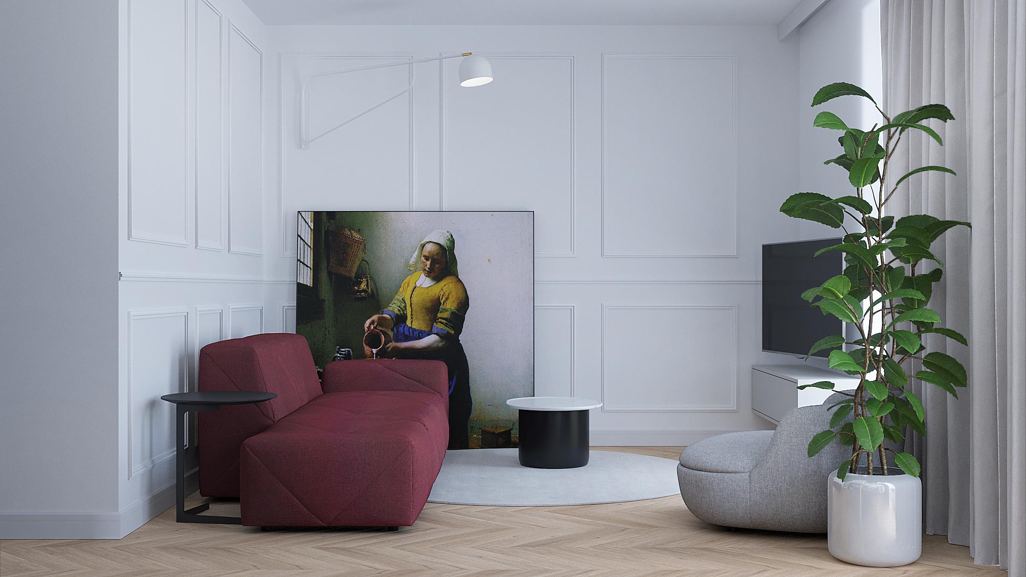 4 projektowanie wnetrz M356 mieszkanie Krakow bordowa sofa szary fotel listwy dekoracyjne
