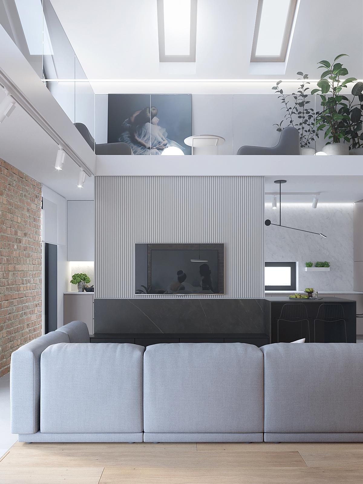 5 architekt wnetrz D428 dom Ruda Slaska salon szara sofa cegla na scianie zabudowa sciany telewizyjnej frezy na plycie meblowej