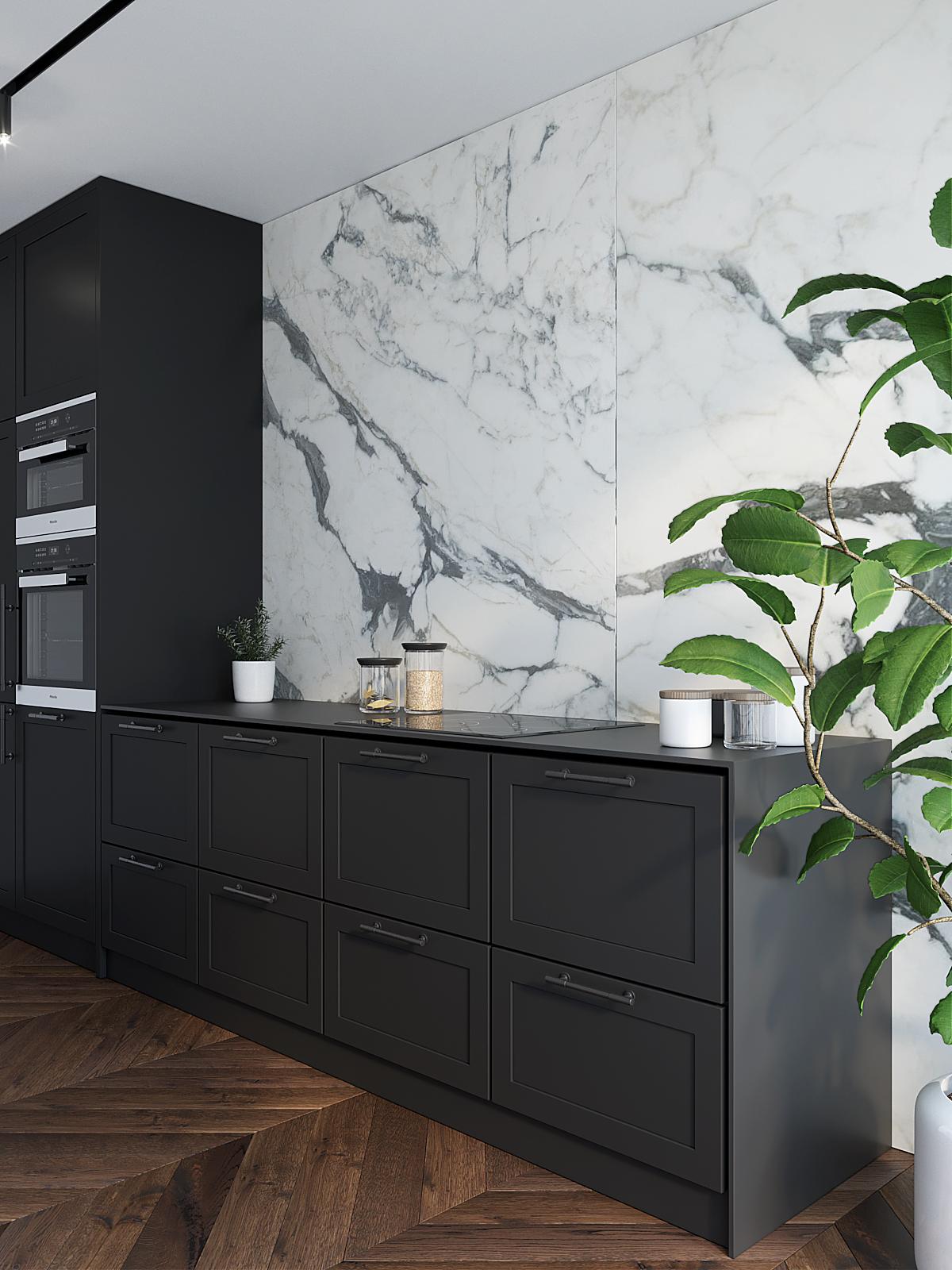5 architekt wnetrz M489 mieszkanie krakow czarna kuchnia kamien na scianie czarne uchwyty