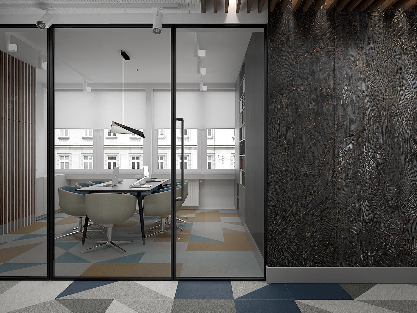 5 projekt biura B247 Kancelaria warszawa korytarz przeszklona scian do sali konferencyjnej tapeta na scianie wykladzina obiektowa
