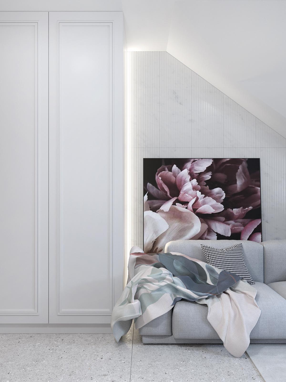 5 projektant wnetrz D423 poddasze Myslowice pokoj na poddaszu szara sofa biala szafa frezowana