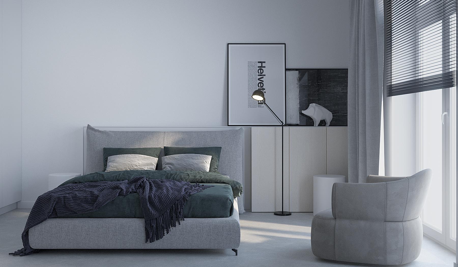5 projektowanie wnetrz M245 mieszkanie krakow sypialnia szare tapicerowane lozko fotel betonowa posadzka