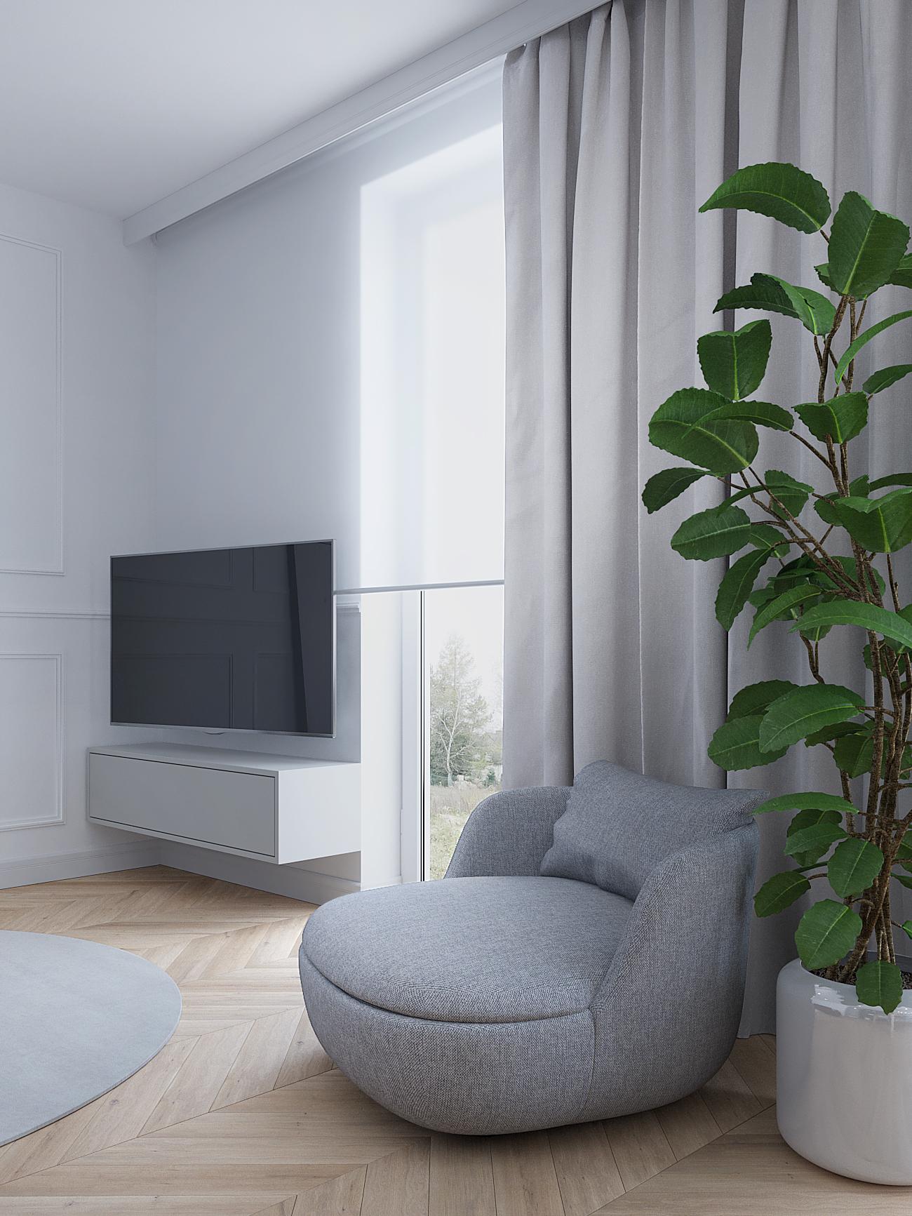 5 projektowanie wnetrz M356 mieszkanie Krakow szary fotel kwiaty w salonie szafka tv biala