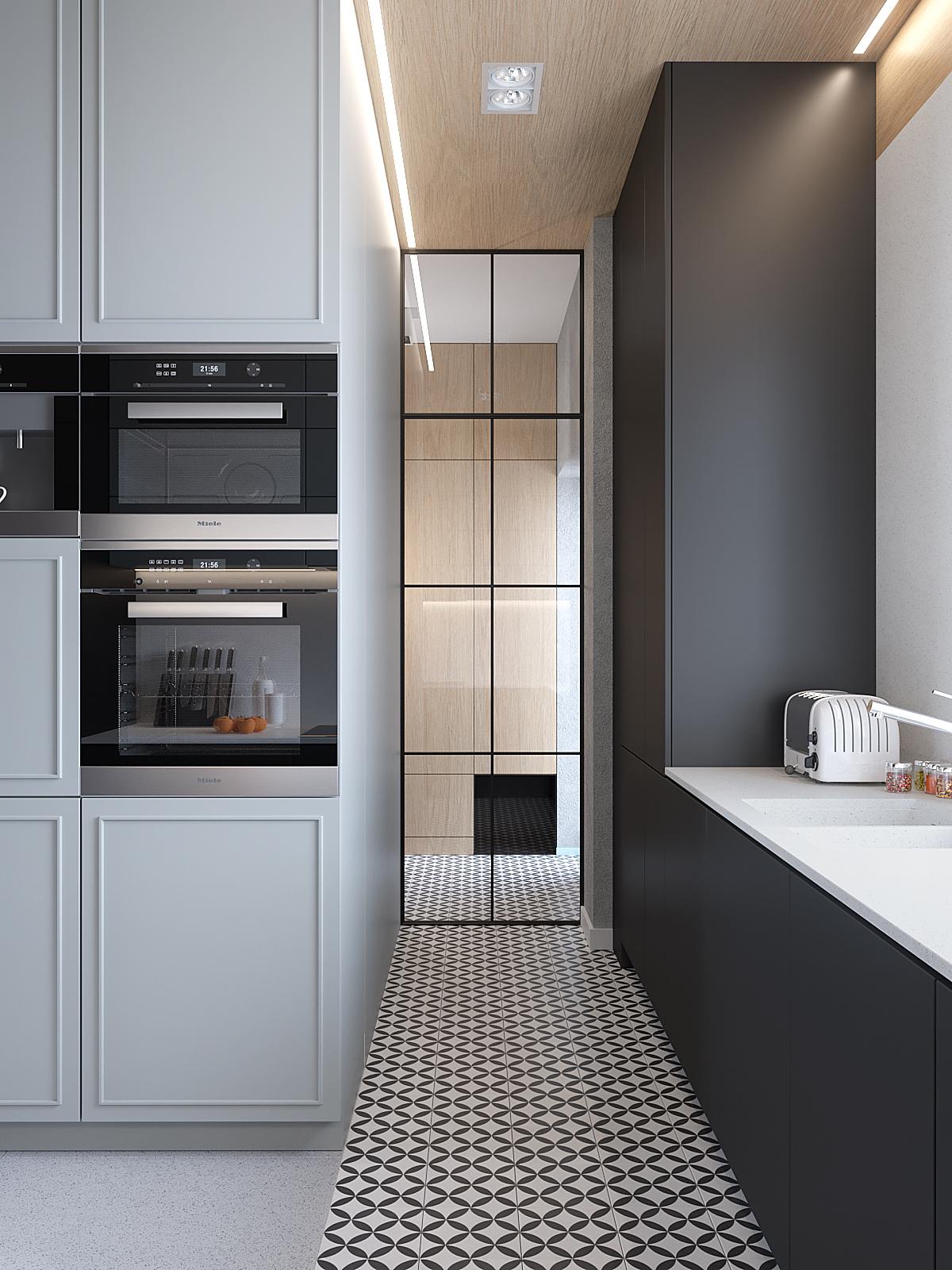 6 aranzacja wnetrz D395 dom Tychy kuchnia grafitowe biale fronty loftowe przeszklenie plytki z wzorem na podlodze