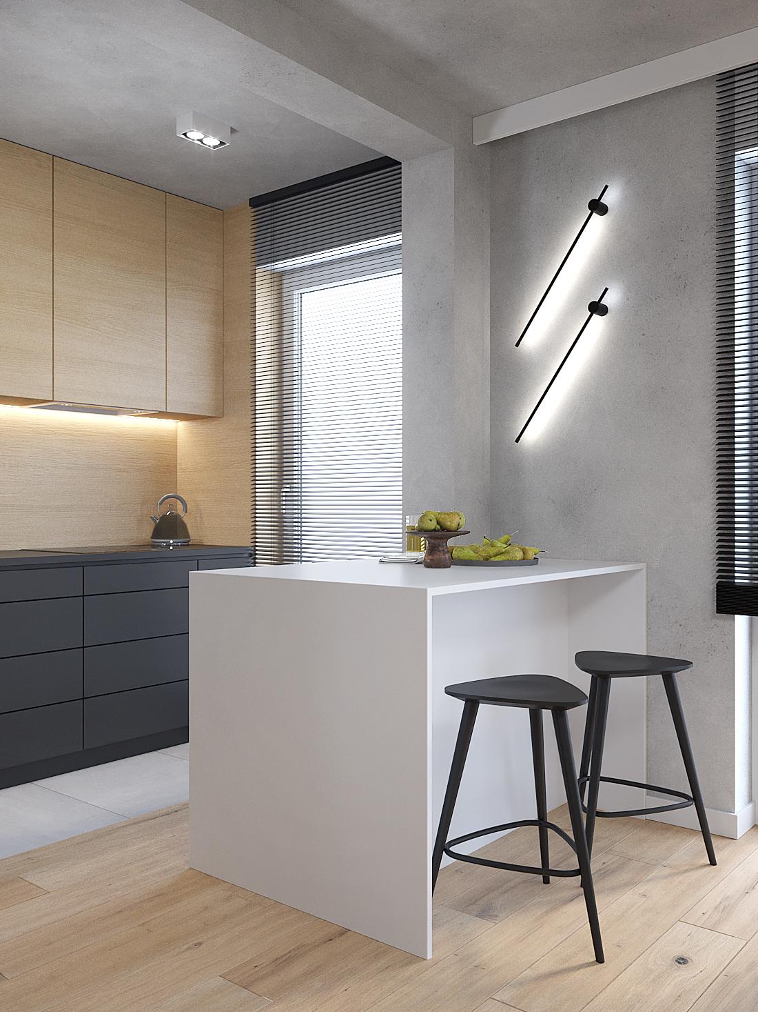 6 aranzacja wnetrz M387 mieszkanie Katowice kuchnia biala polwyspa betonowa sciana loftowe kinkiety