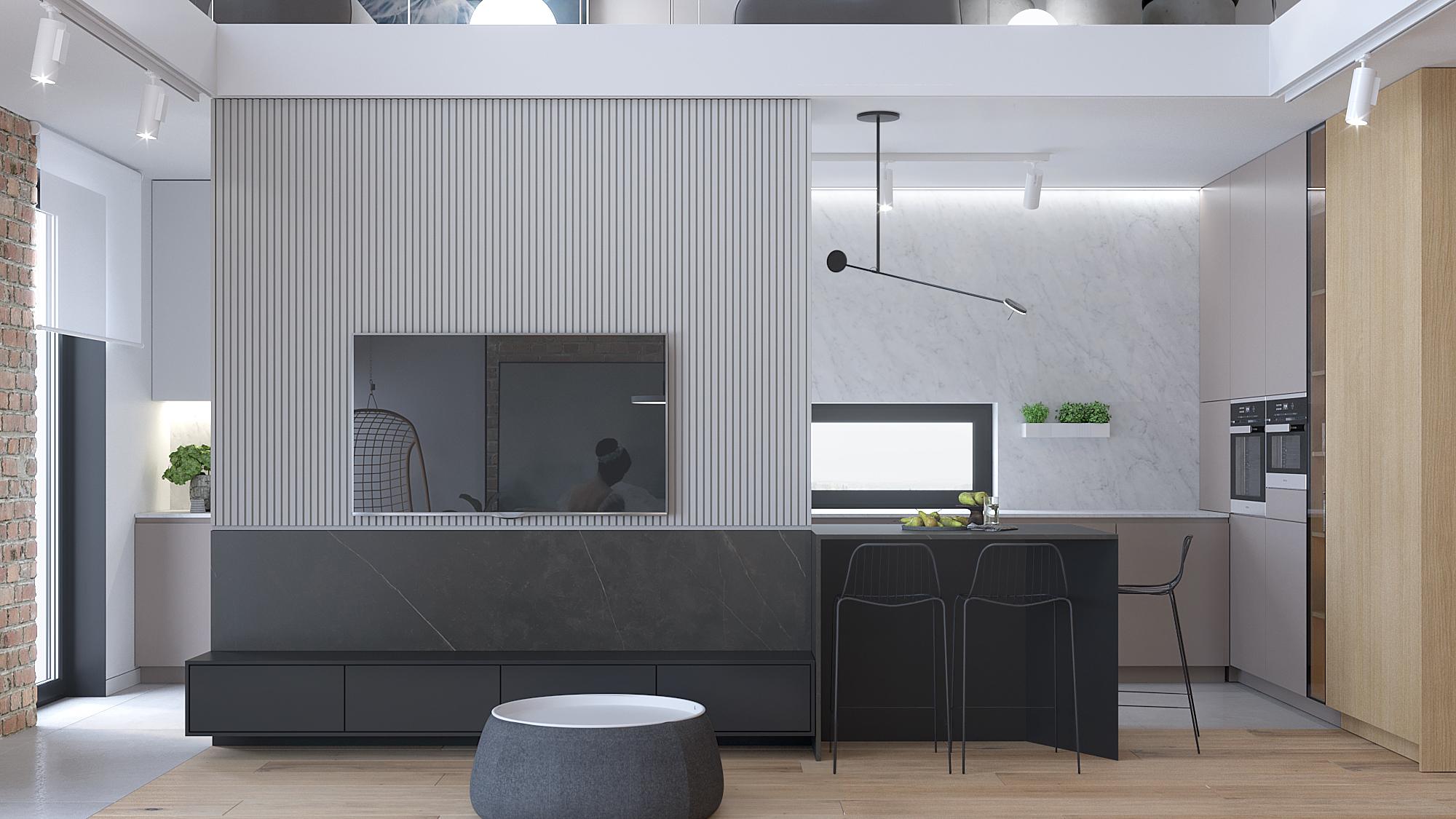 6 architekt wnetrz D428 dom Ruda Slaska salon z kuchnia sciana telewizyjna frezowana plyta meblowa grafitowa szafka rtv metalowe hokery grafitowa polwyspa