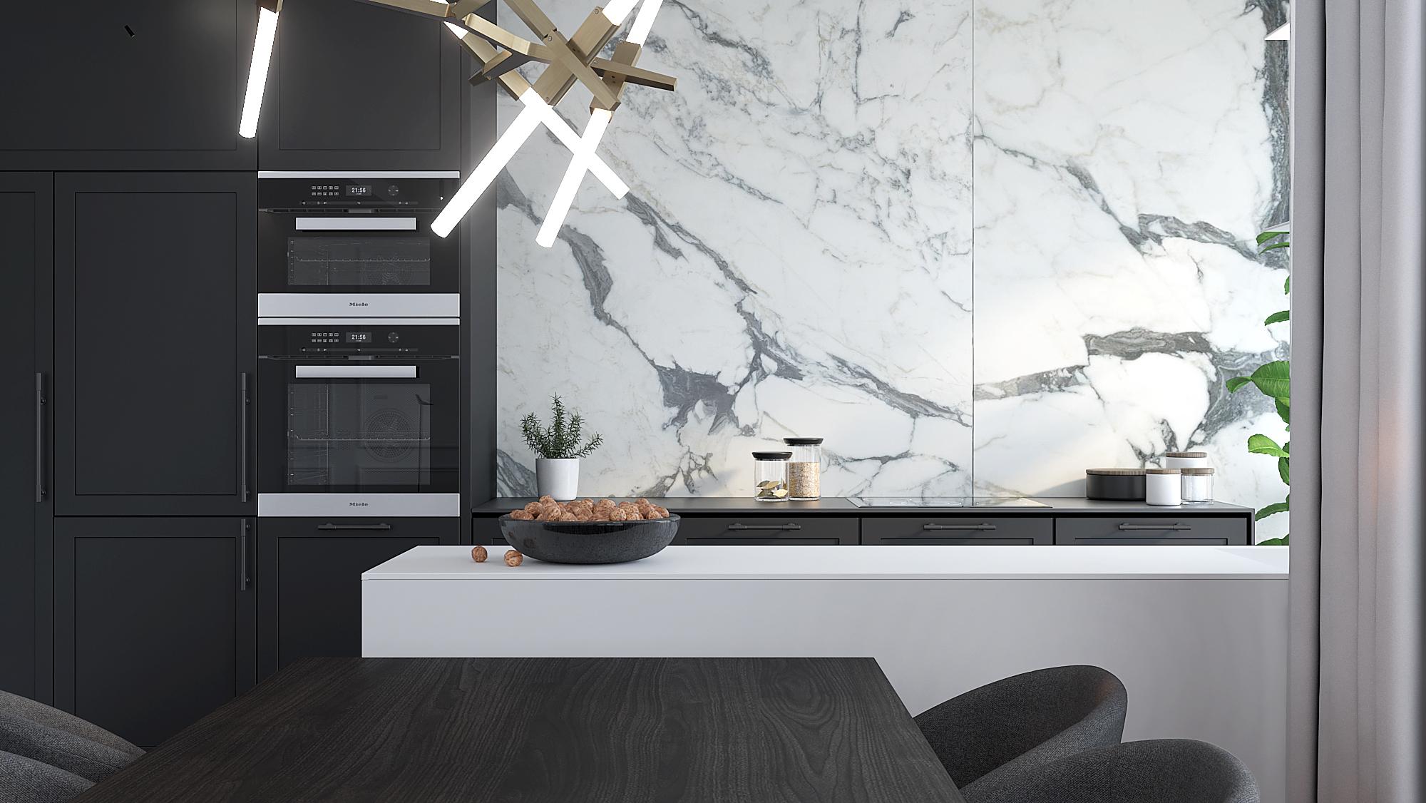 6 architekt wnetrz M489 mieszkanie krakow biala polywspa czarna zabudowa w kuchni marmur na scianie