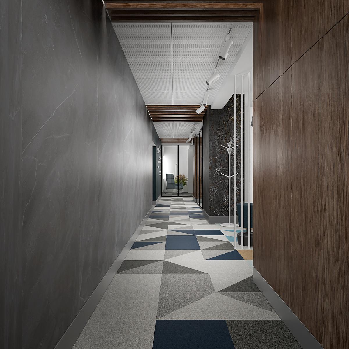 6 projekt biura B247 Kancelaria warszawa korytarz wykladzina w geometryczne wzory plyta meblowa na scianie plytki wielkoformatowe drzwi loftowe