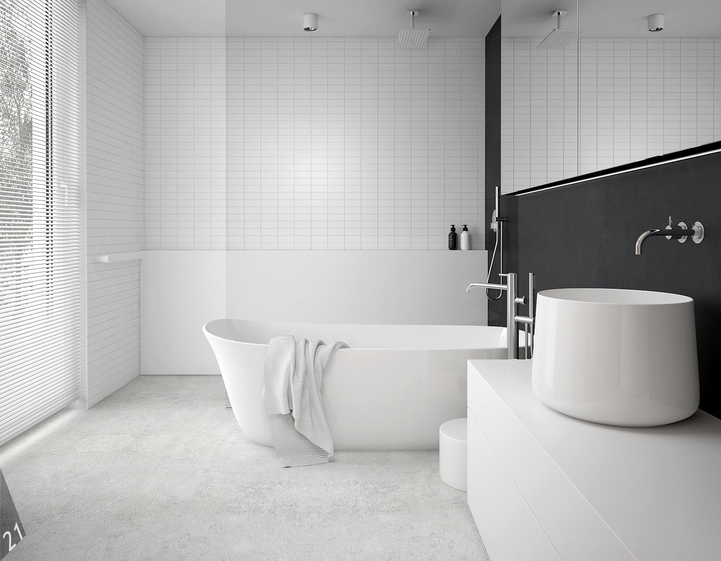 6 projektant wnetrz D372 dom z antresola katowice lazienka beton na podlodze biala cegielka wanna wolnostojaca prysznic otwarty