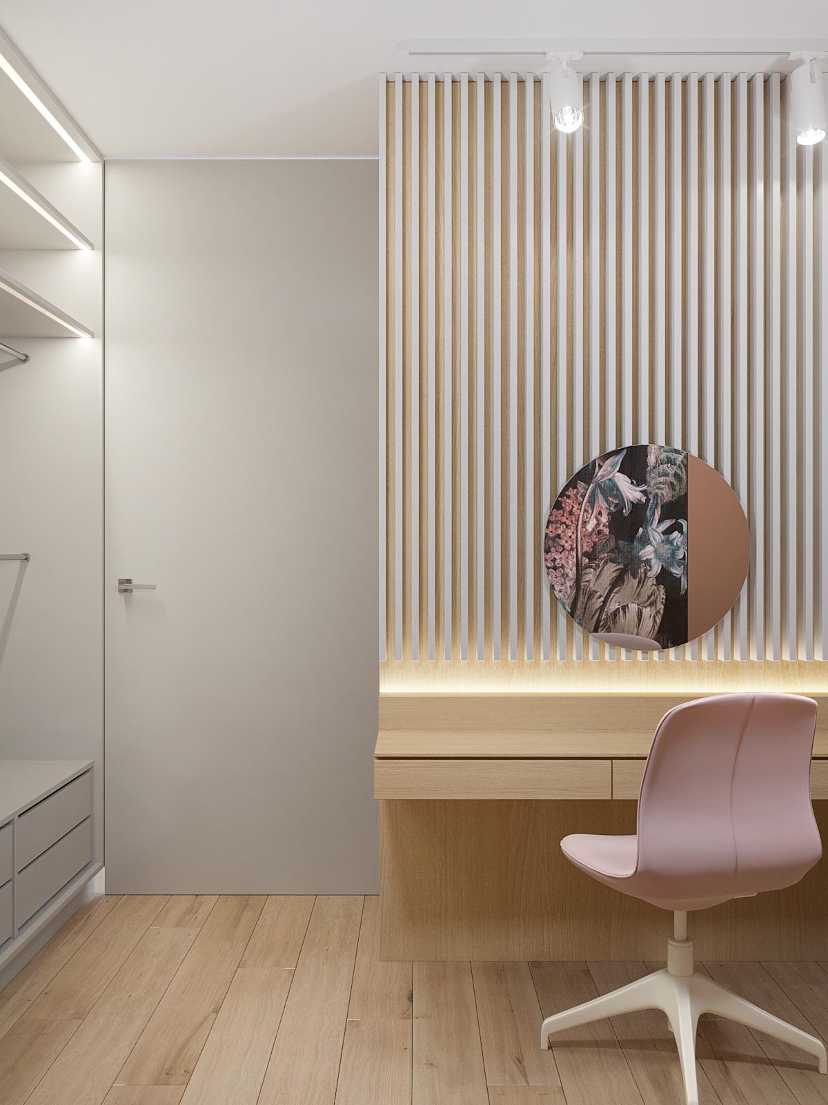 6 projektant wnetrz D423 poddasze Myslowice pokoj z toaletka biale lamele na scianie okragle lustro
