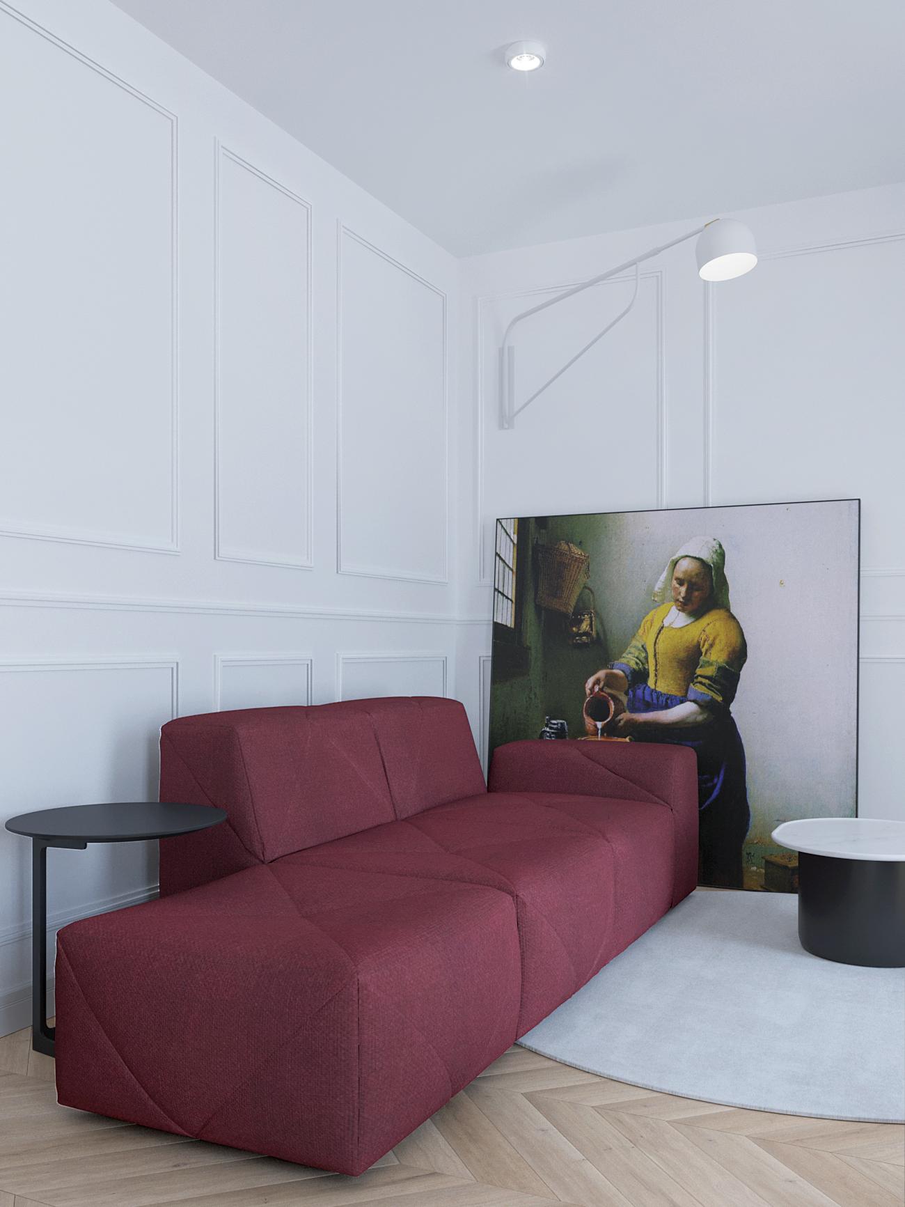 6 projektowanie wnetrz M356 mieszkanie Krakow bordowa sofa listwy dekoracyjne na scianie podloga jodelka