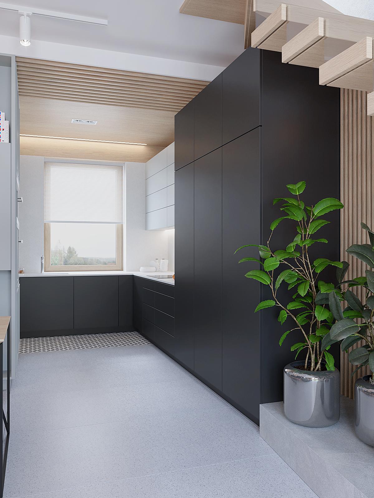 7 aranzacja wnetrz D395 dom Tychy kuchnia fronty bialo grafitowe szare plytki na podlodze drewniany sufit z listewkami