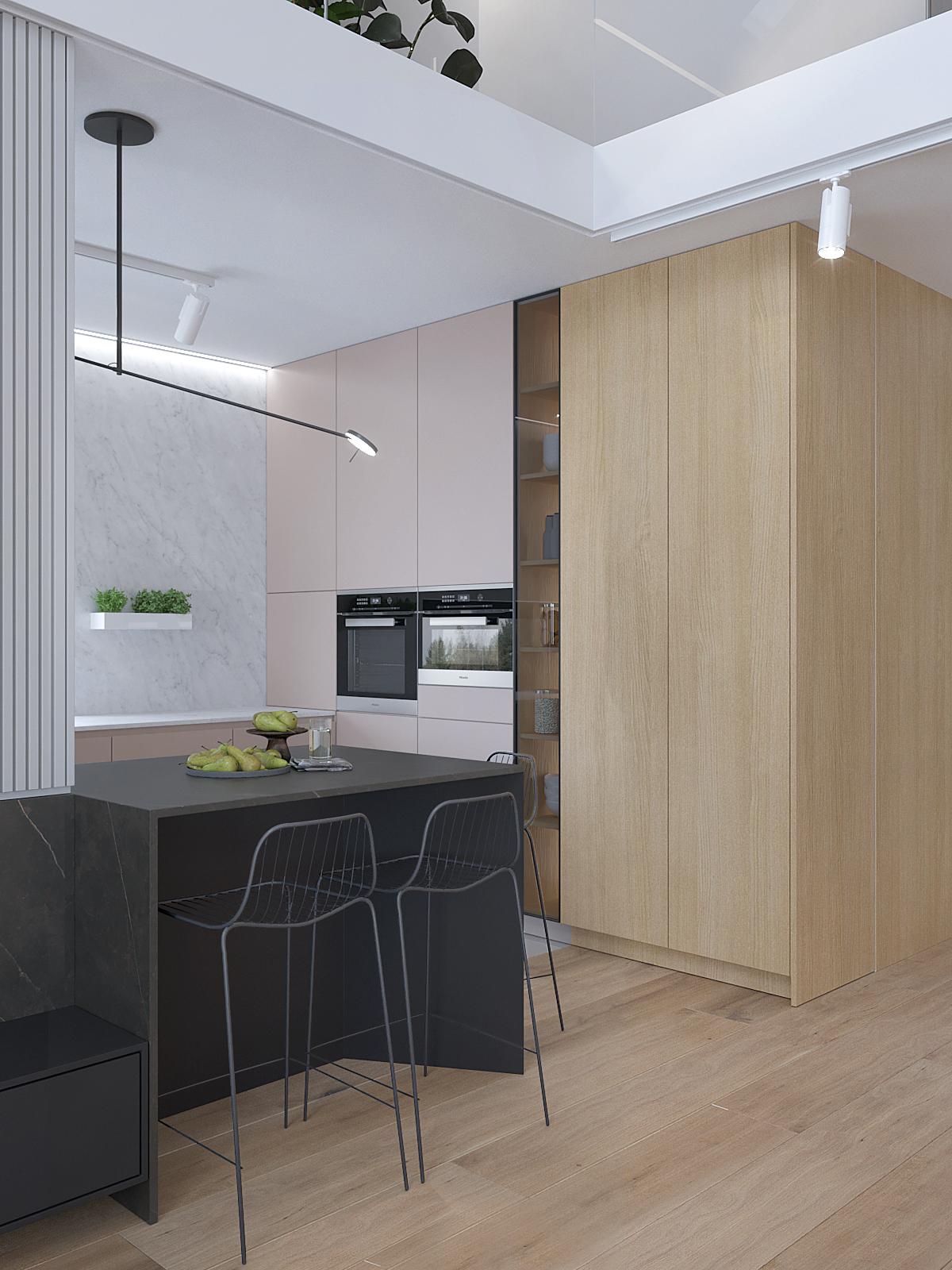7 architekt wnetrz D428 dom Ruda Slaska kuchnia bezowe fronty drewniane fronty polywspa grefitowa z hokerami