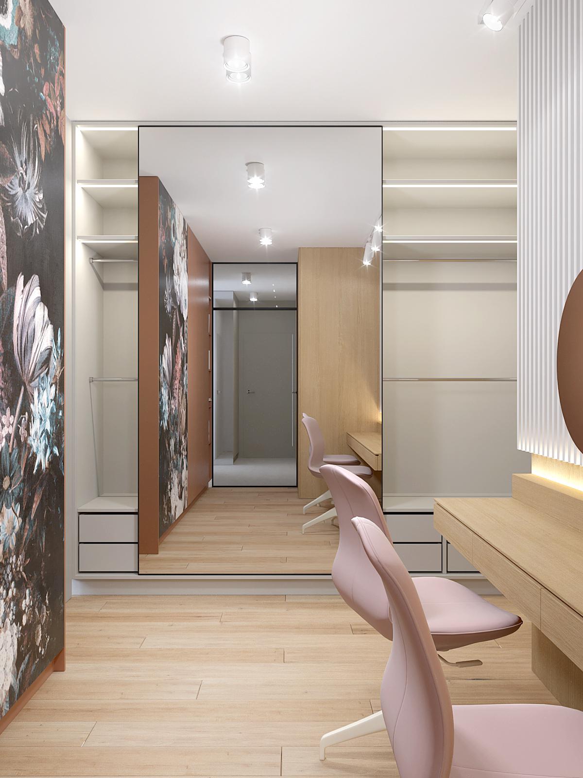 7 projektant wnetrz D423 poddasze Myslowice pokoj z toaletka przesuwne lustro tapeta w kwiaty drewniana podloga