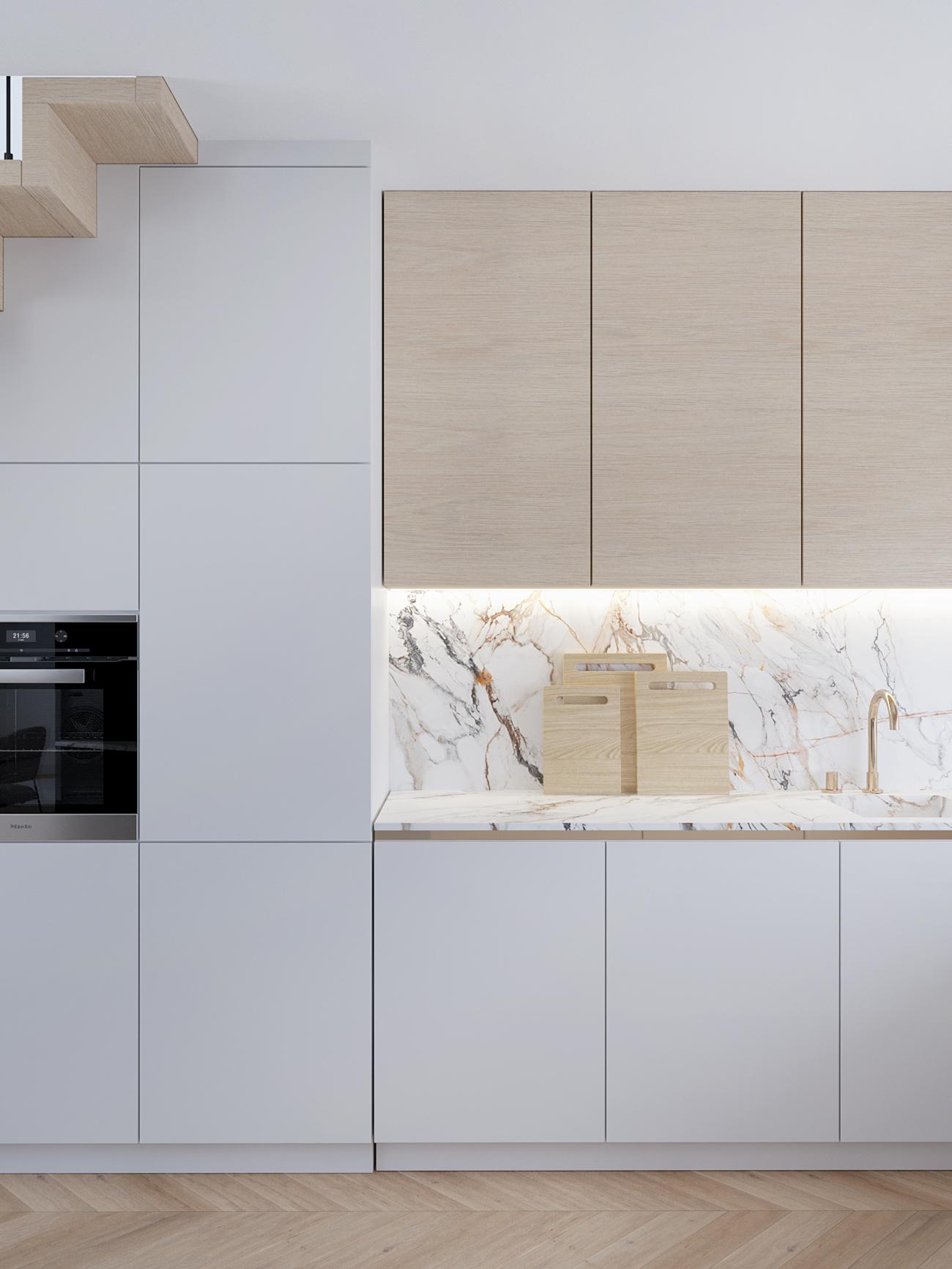 7 projektowanie wnetrz M356 mieszkanie Krakow biala kuchnia derwniane fronty kamien na scianie