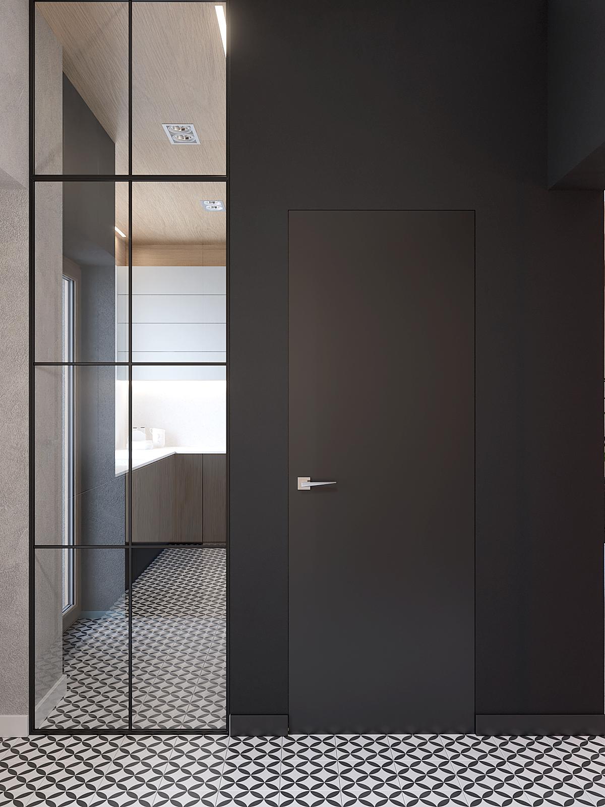 8 aranzacja wnetrz D395 dom Tychy hol grafitowa sciana ukryte drzwi loftowe przeszklenie plytki z wzorem