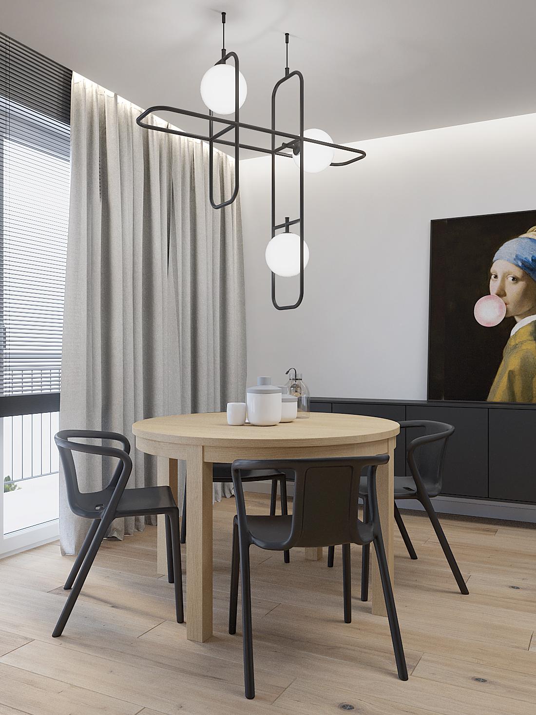 8 aranzacja wnetrz M387 mieszkanie Katowice jadalnia drewniany okragly stol czarne krzesla loftowa lampa nad stolem