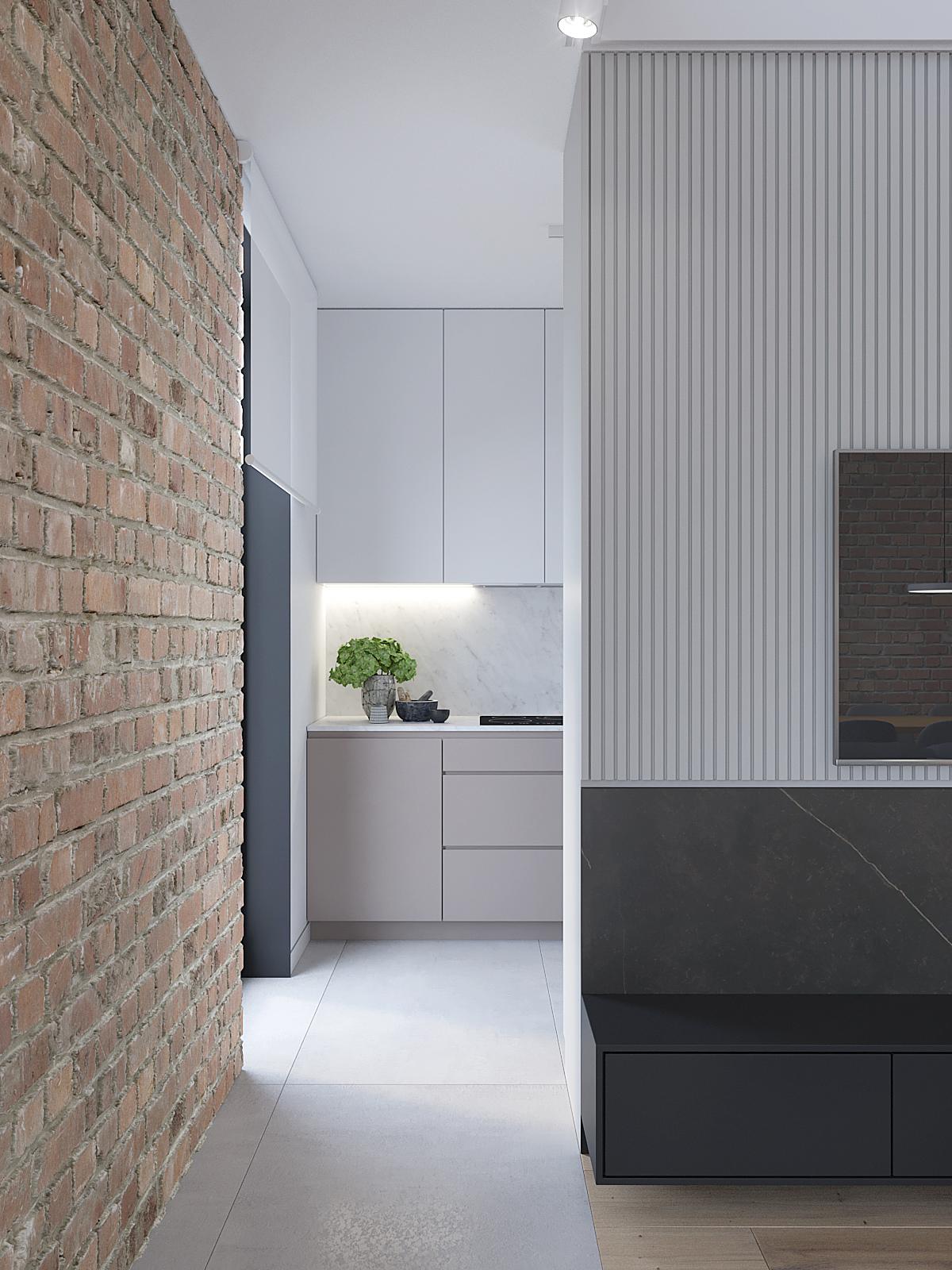 8 architekt wnetrz D428 dom Ruda Slaska wejscie do kuchni cegla na scianie telewizor na frezowenj plycie szare plytki