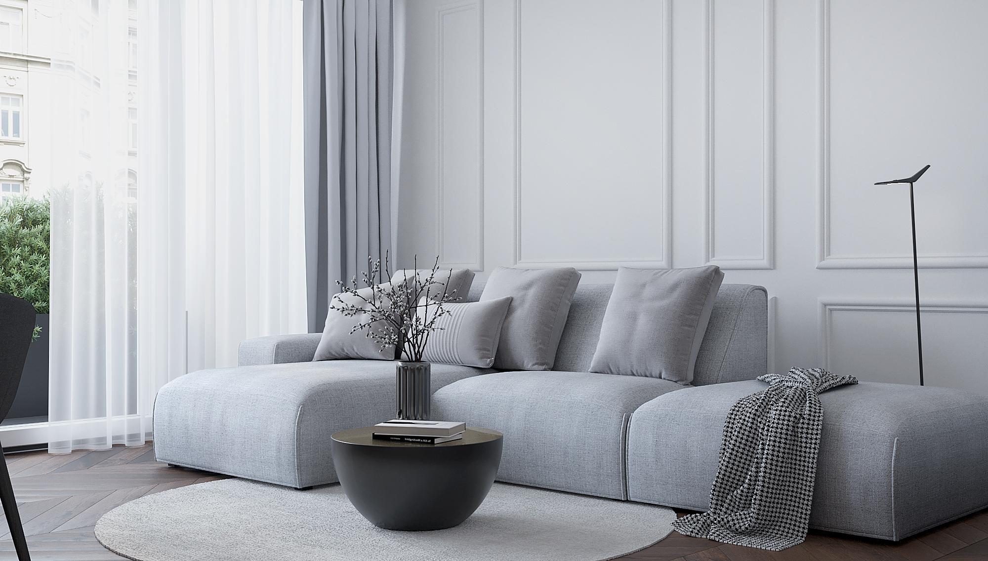 8 architekt wnetrz M489 mieszkanie krakow salon szara sofa czarny stolik kawowy sciana listwy dekoracyjne