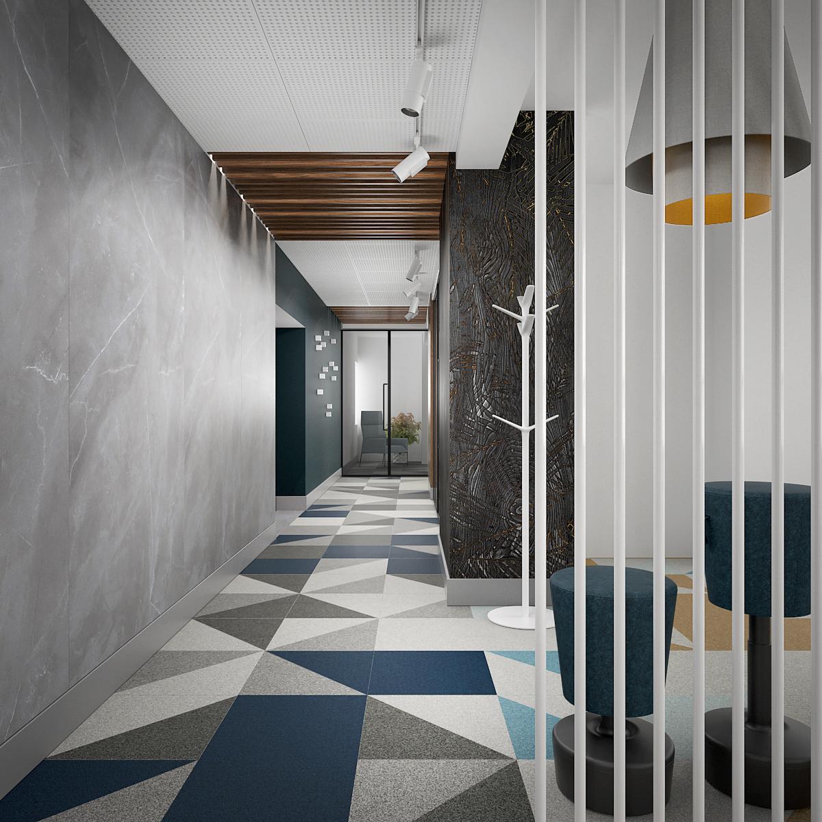 8 projekt biura B247 Kancelaria warszawa korytarz wykladzina w geometryczne wzory plyta meblowa na scianie plytki wielkoformatowe azurowa biala scianka