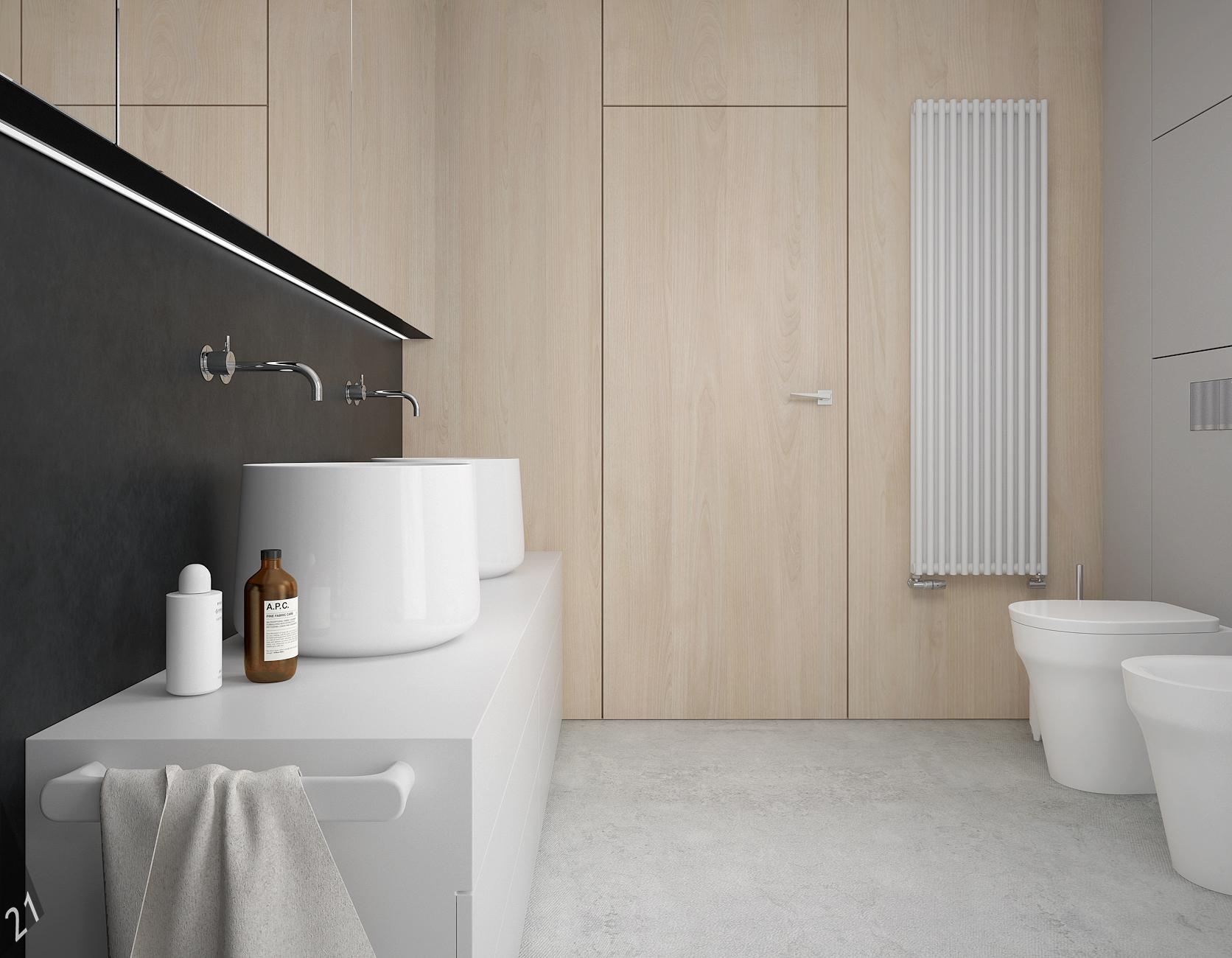 8 projektant wnetrz D372 dom z antresola katowice lazienka dwie umywalki drewniana sciana z drzwiami betonowa posadzka umywalki nablatowe