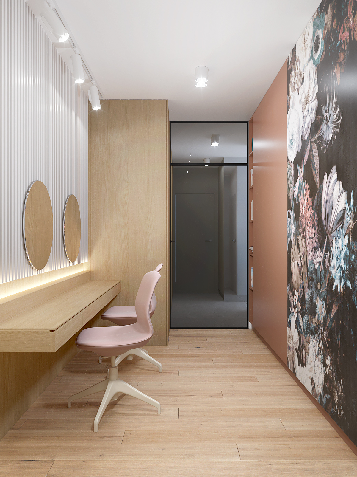 8 projektant wnetrz D423 poddasze Myslowice pokoj do makijazu okragle lustro loftowe przeszklenie tapeta w kwiaty