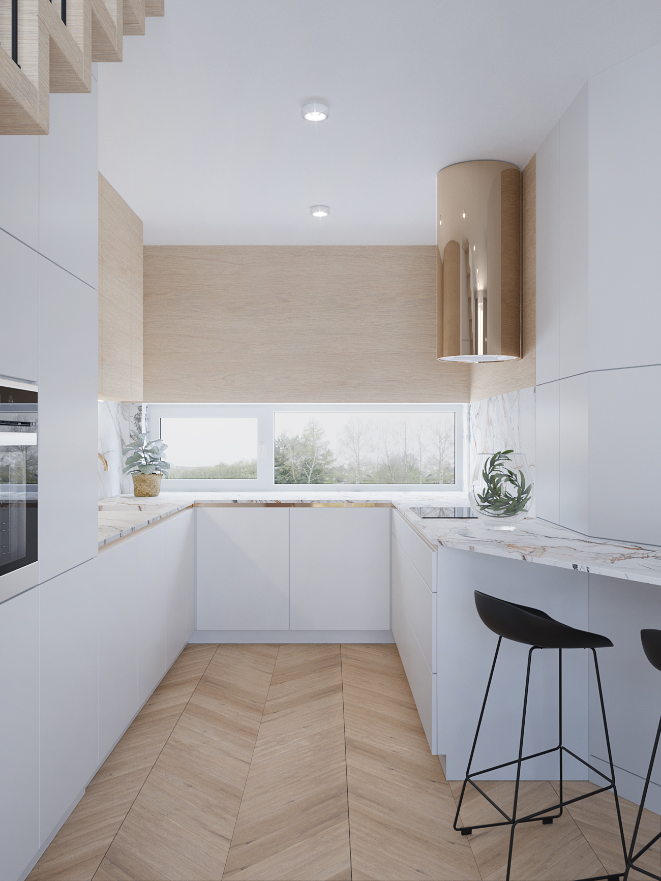 8 projektowanie wnetrz M356 mieszkanie Krakow biala kuchnia kamienny blat zloty okap czarne hokery