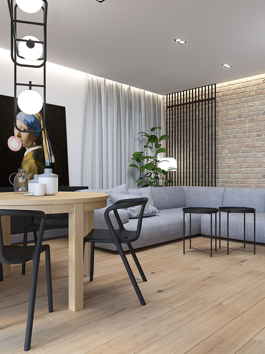 9 aranzacja wnetrz M387 mieszkanie Katowice salon z jadalnia szara sofa cegla na scianie drewniany stol
