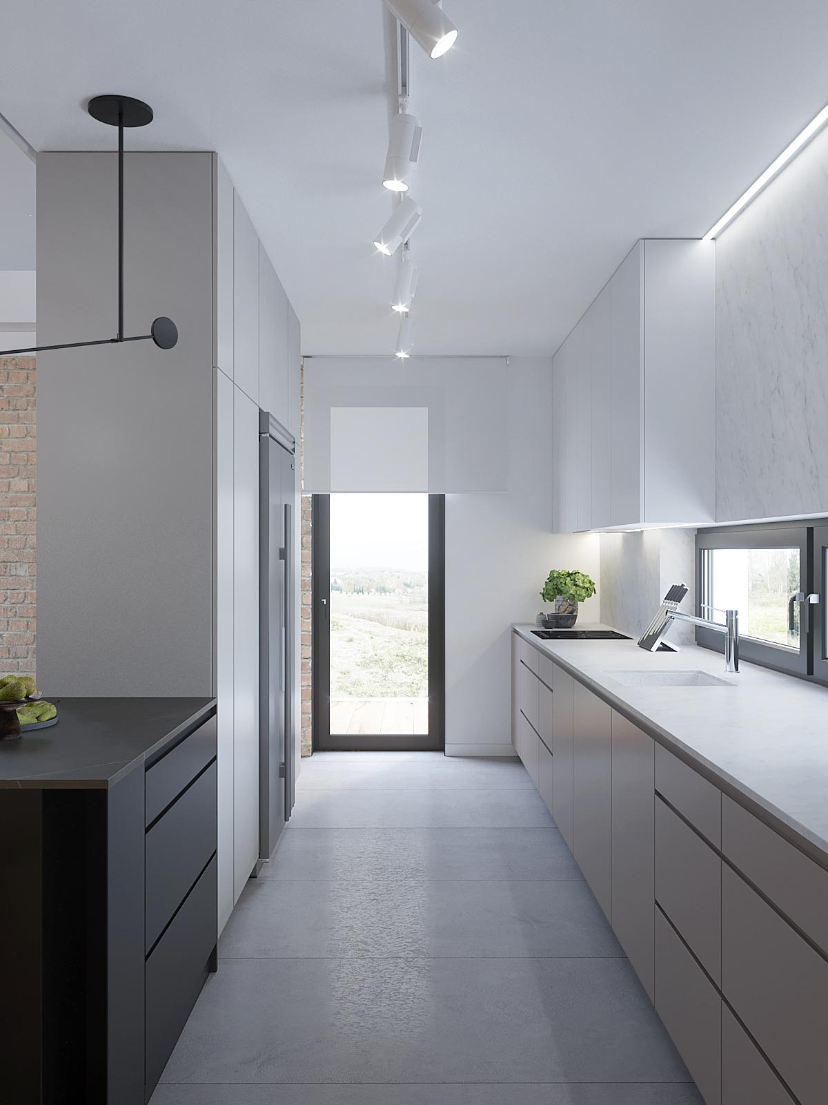 9 architekt wnetrz D428 dom Ruda Slaska kuchnia wysoka zabudowa z lodowka side by side bialy blat bezowe fronty wyspa w kuchni