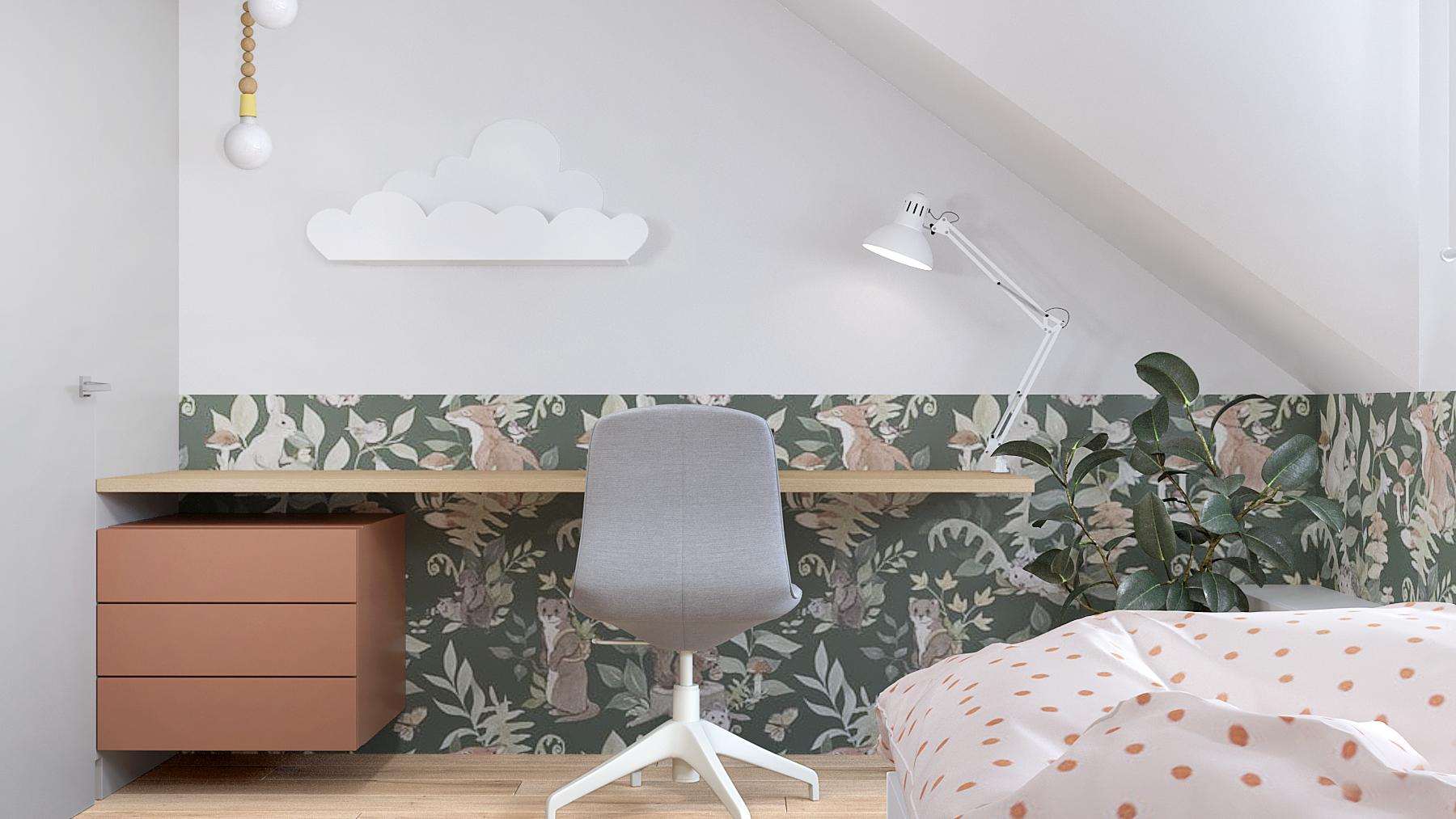 9 projektant wnetrz D423 poddasze Myslowice pokoj dla dziewczynki biurko tapeta polka chmurka szare krzeslo