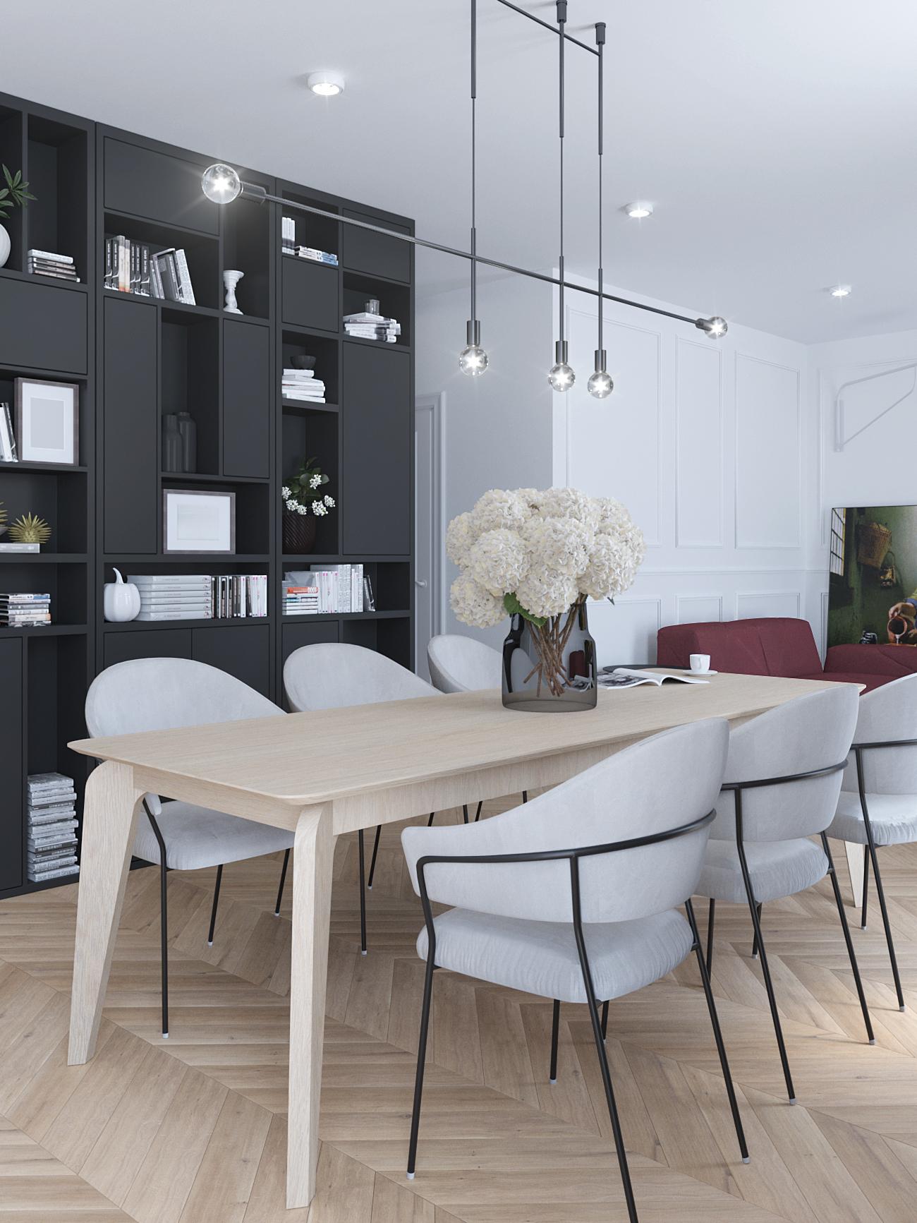 9 projektowanie wnetrz M356 mieszkanie Krakow grafitowa zabudowa jodelka na podlodze szare krzesla