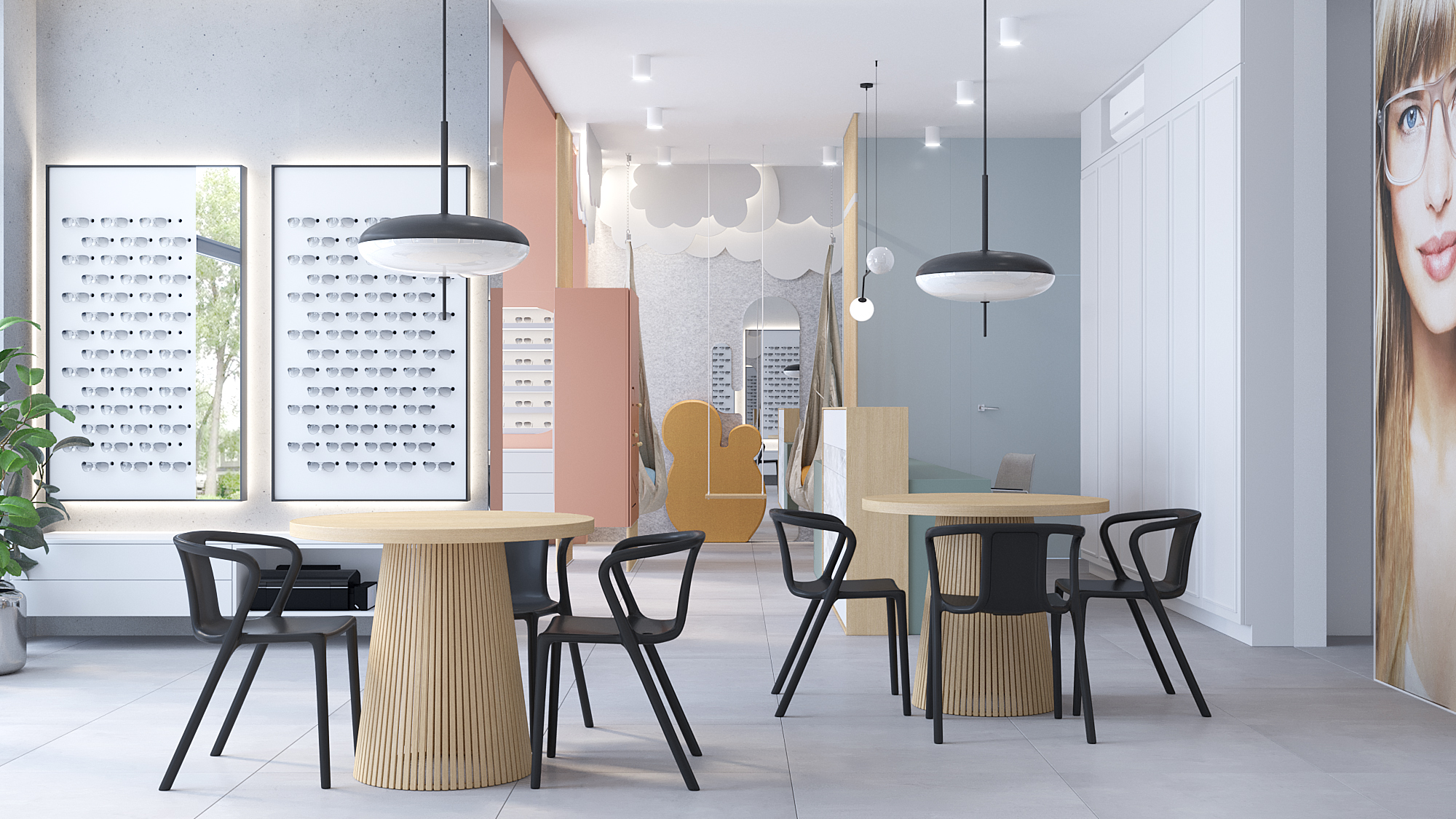 1 architekt wnetrz K099 optyk Strozik Bytom sala obslugi klienta okragly drewniany stol ekspozytor na okulary tapeta na scianie kacik dla dzieci