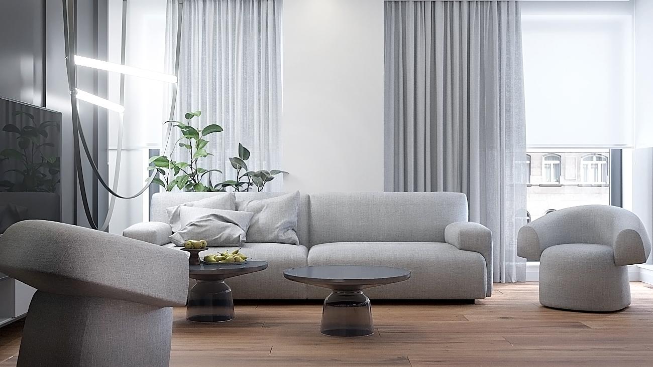 1 nowoczesny projekt wnetrza M541 mieszkanie katowice salon szklany stolik kawowy szara sofa szare zaslony sofa z fotelami drewniana podloga