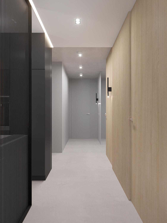 1 projket wnetrza M558 korytarz posadzka beronowa sciana plyty drewniane drzwi ukryte do sufitu